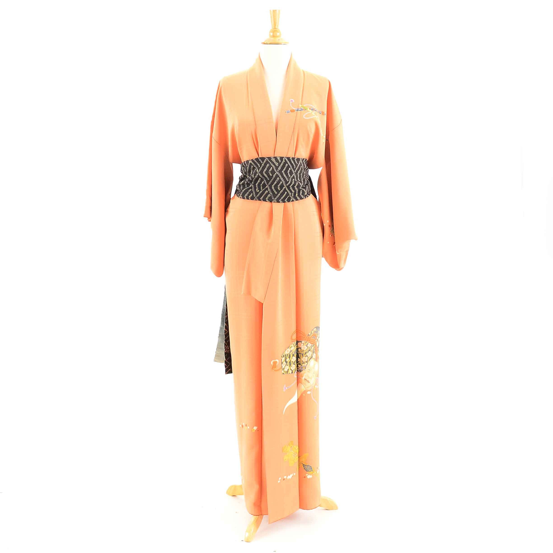 Vintage Japanese Tangerine Silk Kimono and Obi