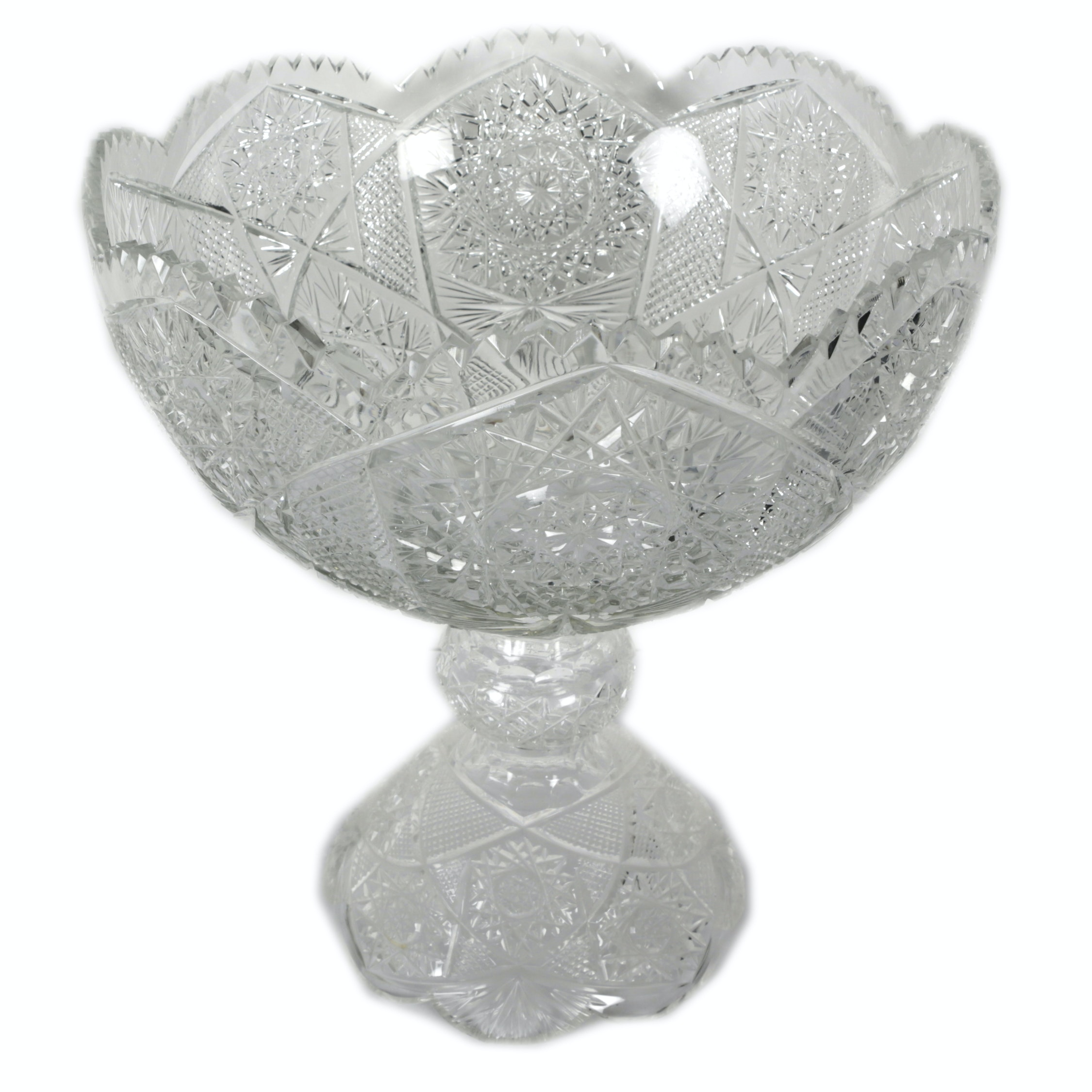 Vintage American Brilliant Cut Glass Punch Bowl