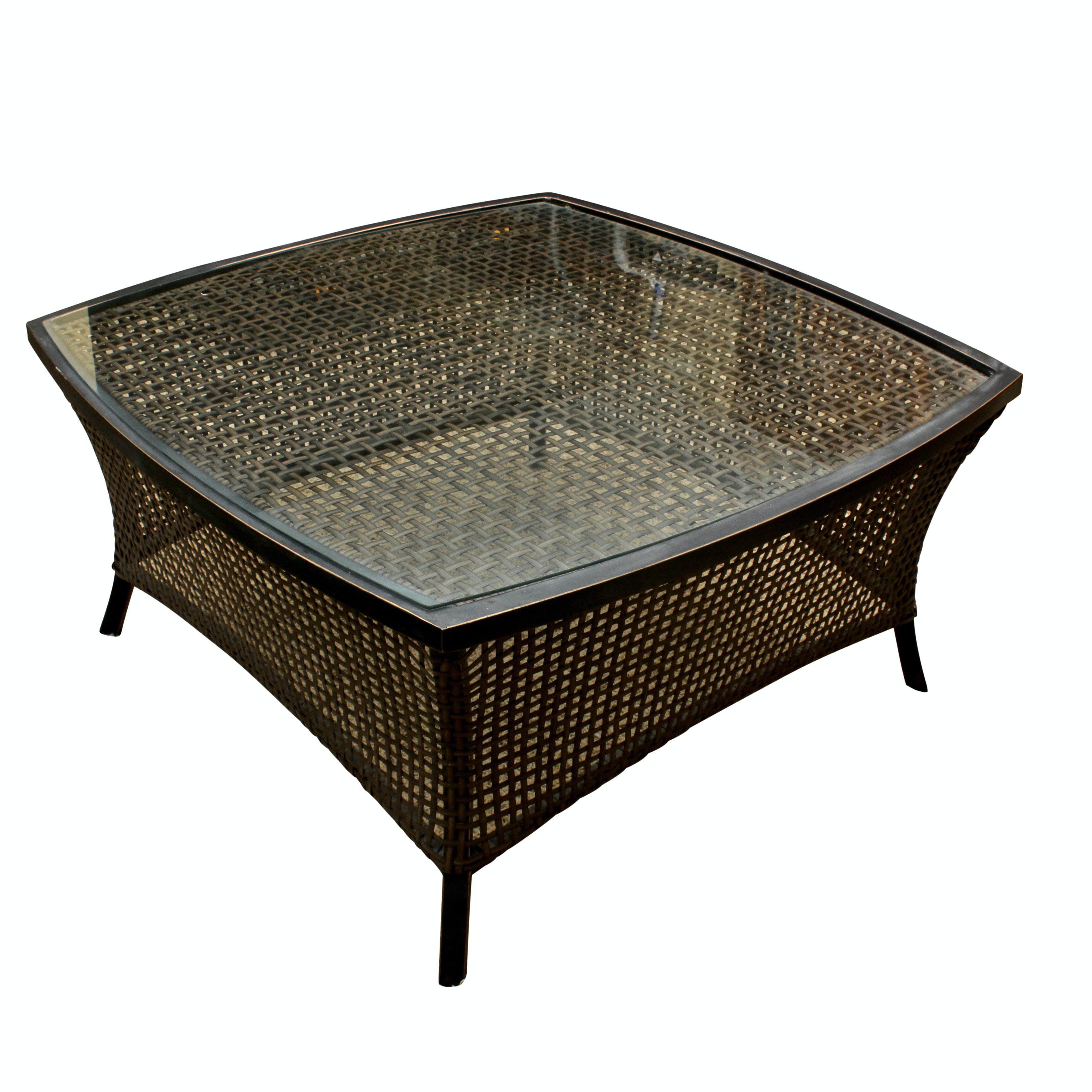 Glass Top Rattan Outdoor Coffee Table
