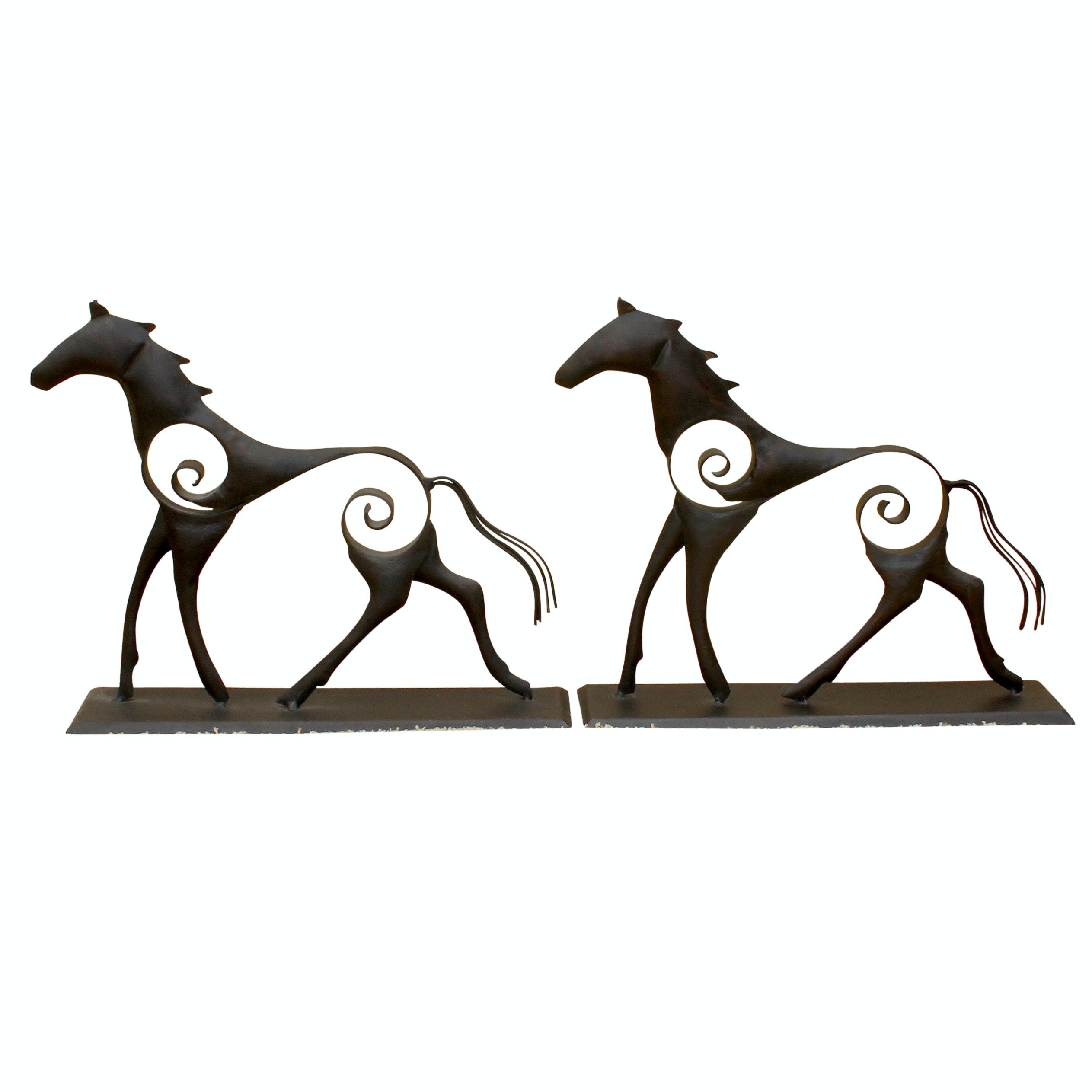 Contemporary Cast Metal Horse Sculptures