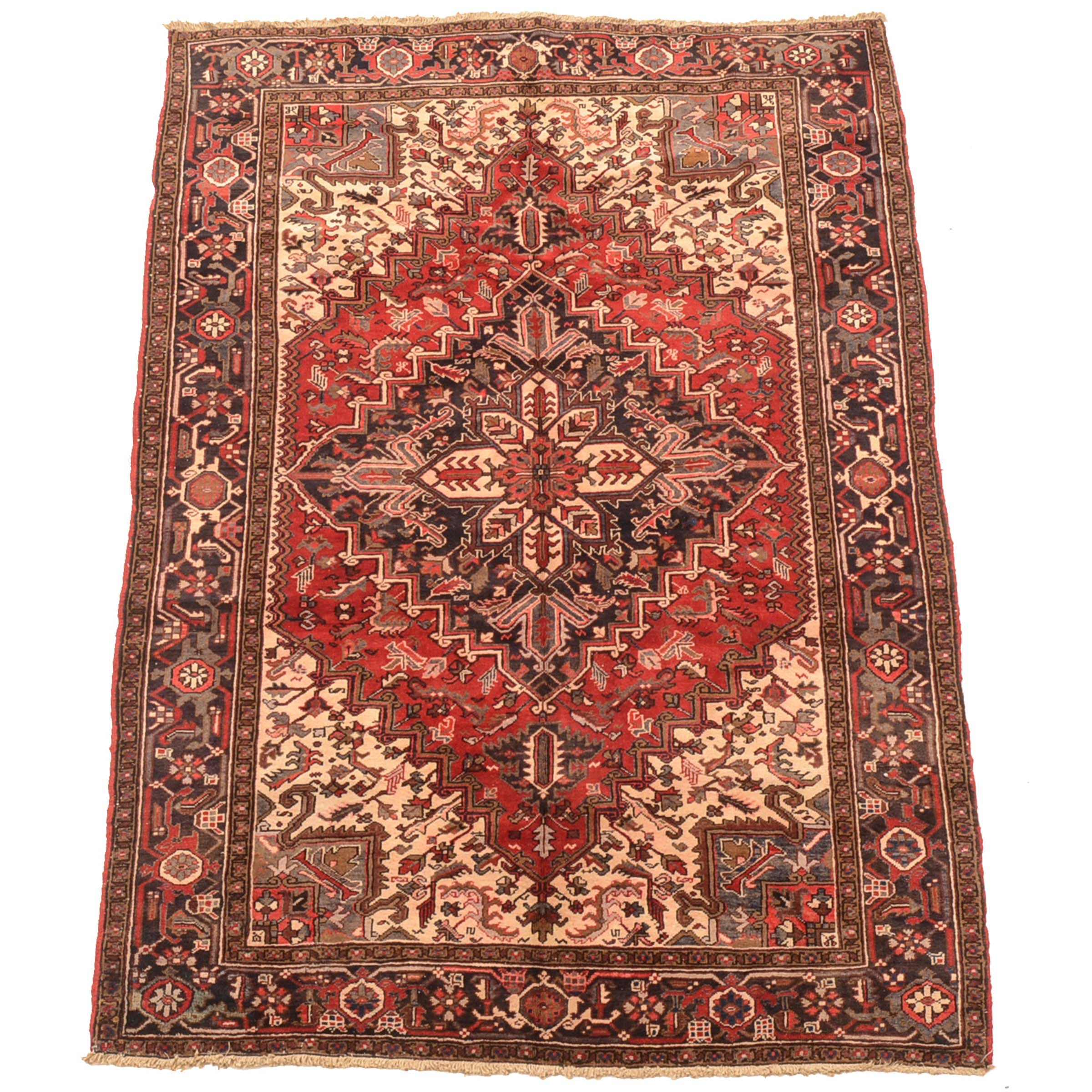 Vintage Hand-Knotted Persian Serapi Heriz Area Rug