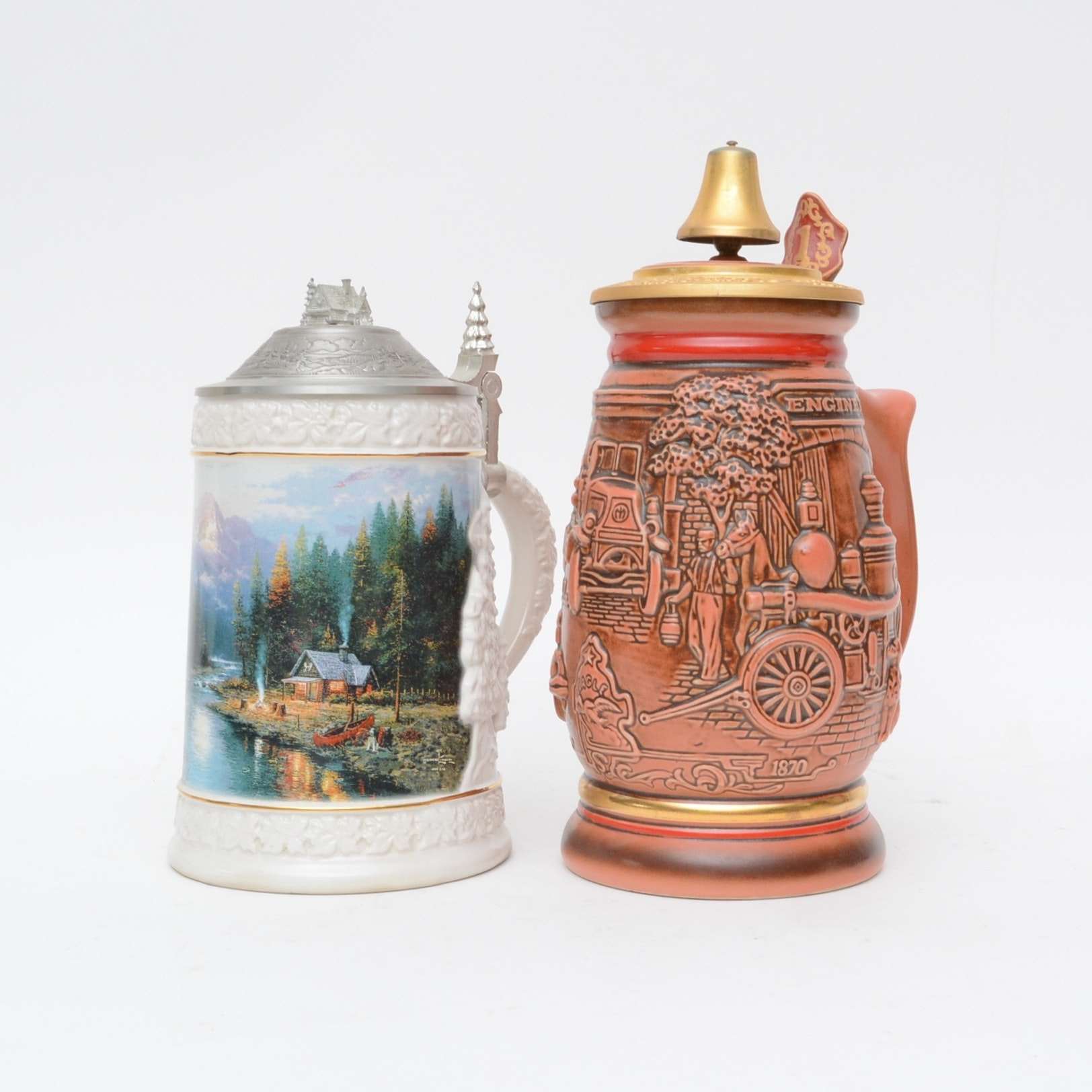 Vintage Beer Steins with Thomas Kinkade