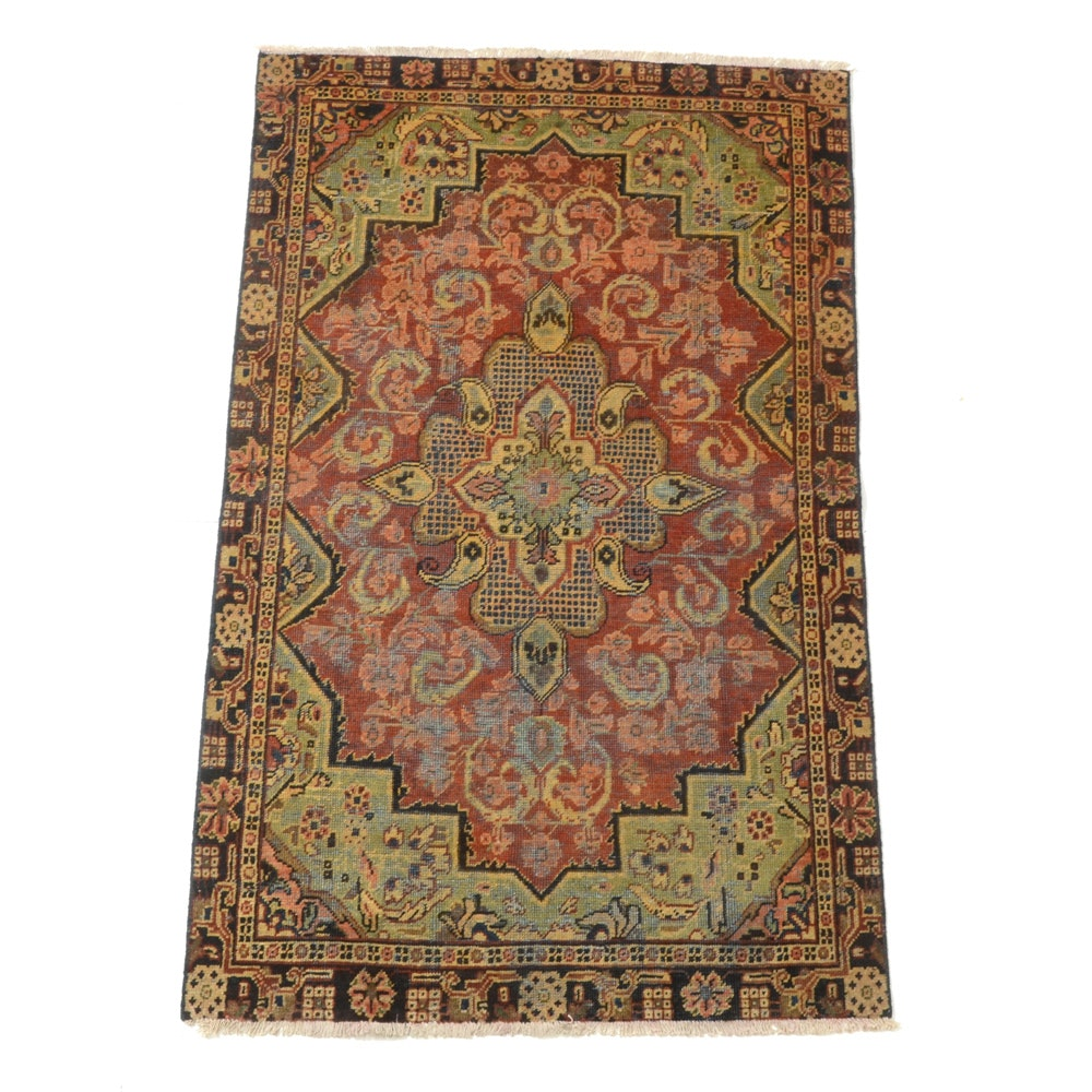 Hand-Knotted Romanian Persian-Inspired Wool Area Rug