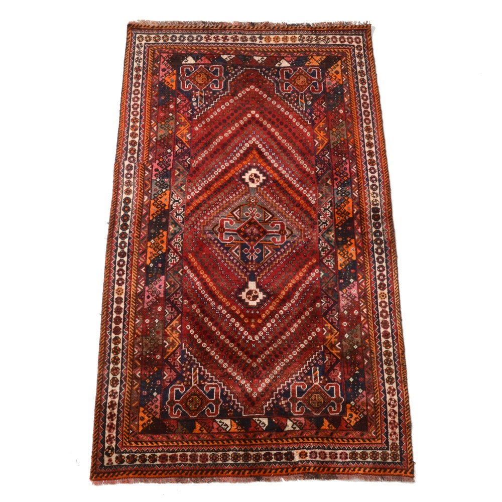 Hand-Knotted Turkish Qashqai Wool Area Rug