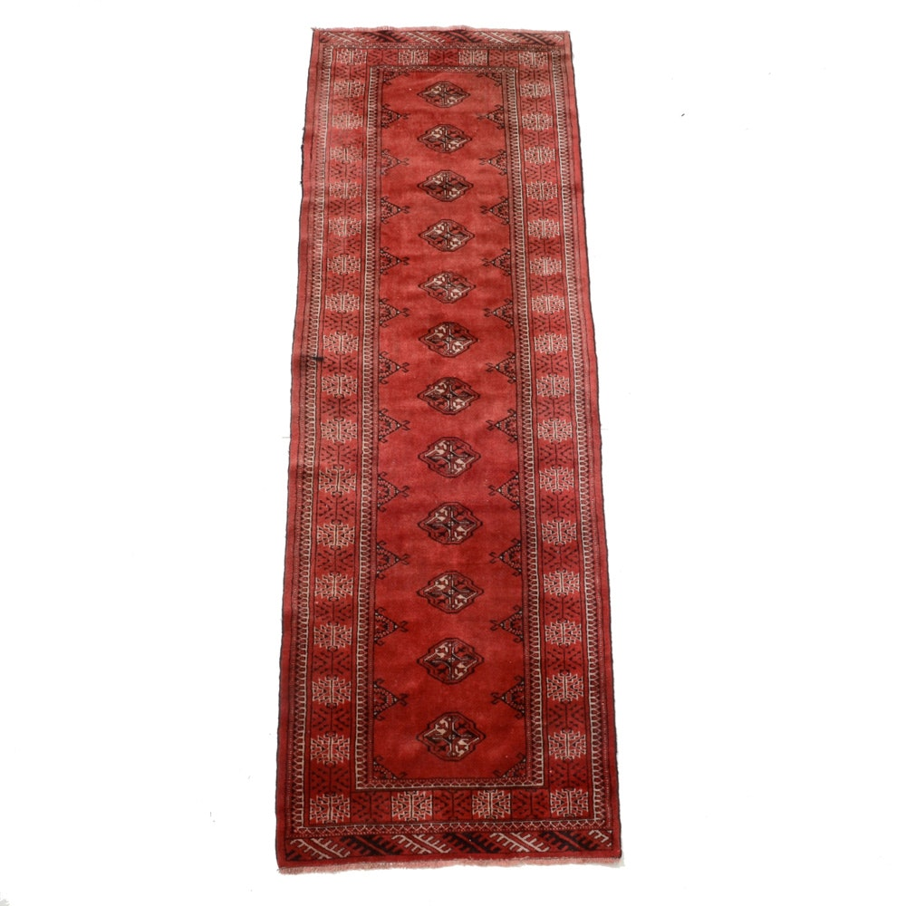 Vintage Hand-Knotted Persian Turkmen Carpet Runner