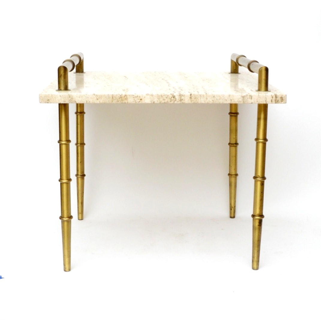 Vintage Hollywood Regency Brass and Marble End Table