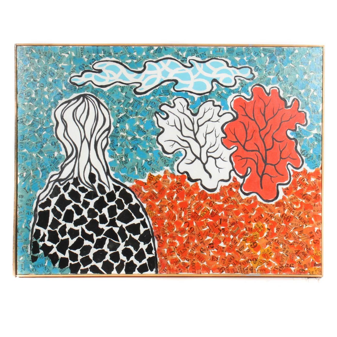 "Ohioan James Yoko Mixed Media ""Landscape with Figure"""