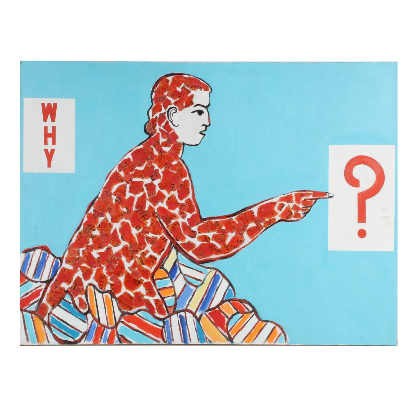 "James Yoko Mixed Media ""Why"" With Human Figure"