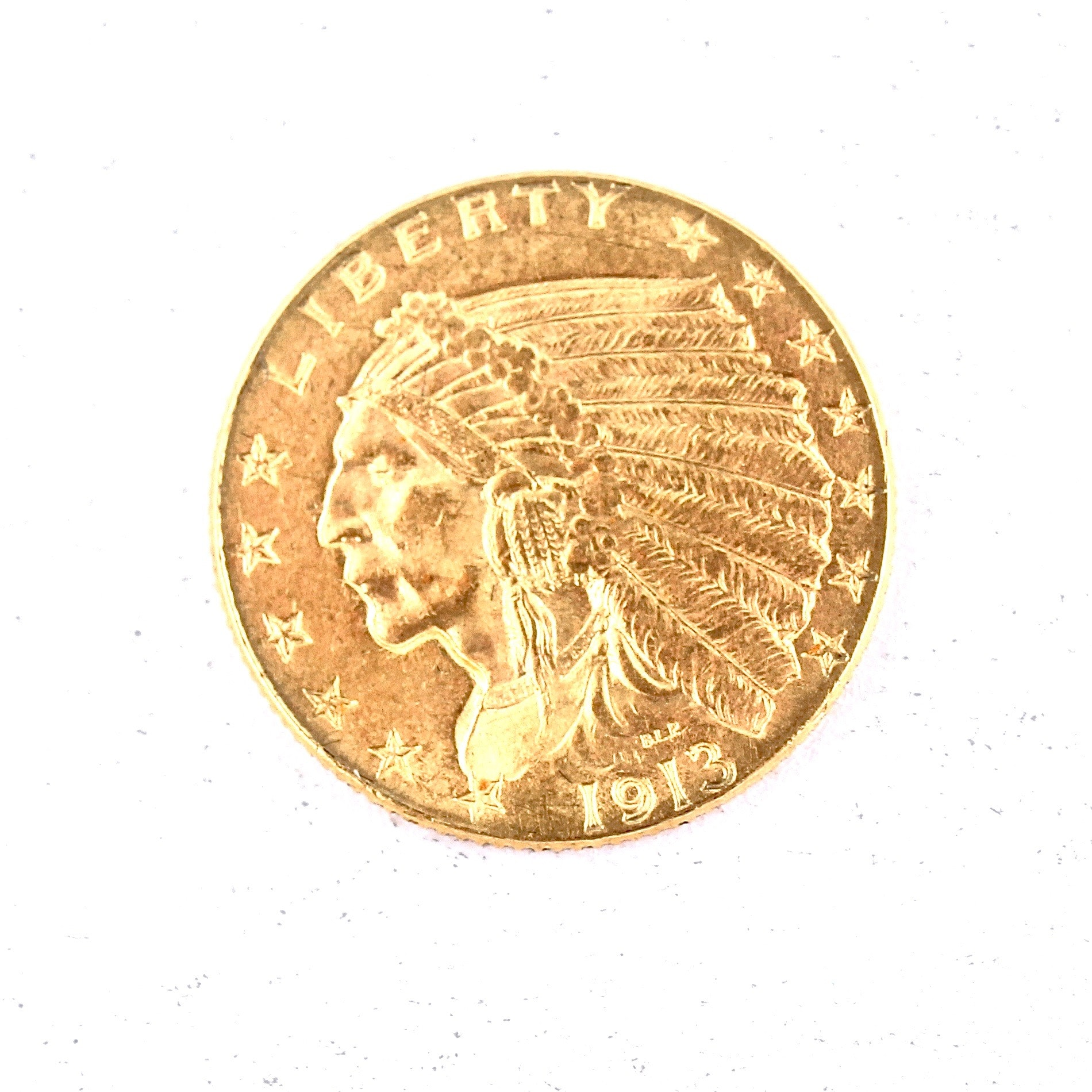 1913 Indian Head 2 1/2 Dollar Gold Eagle Coin