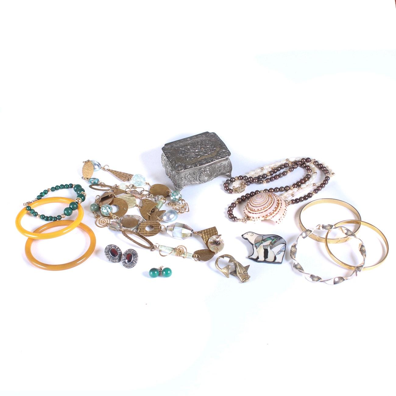 Assortment of Costume Jewelry with Trinket Box