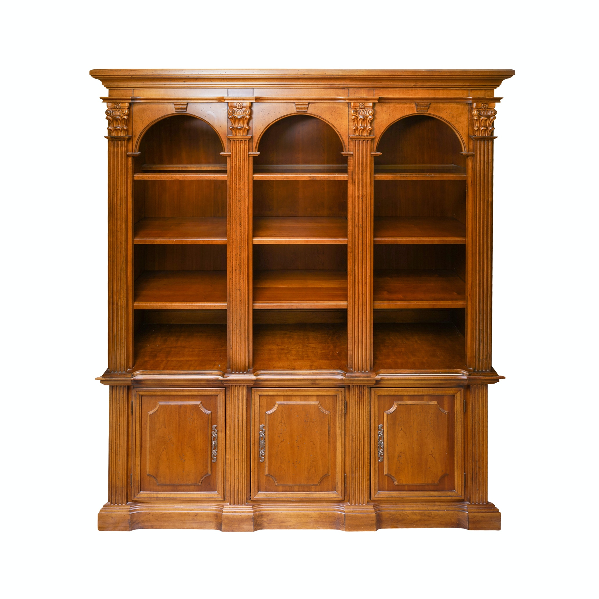 Vintage Two-Piece Neoclassical Style Cherry Bookcase by Hooker Furniture
