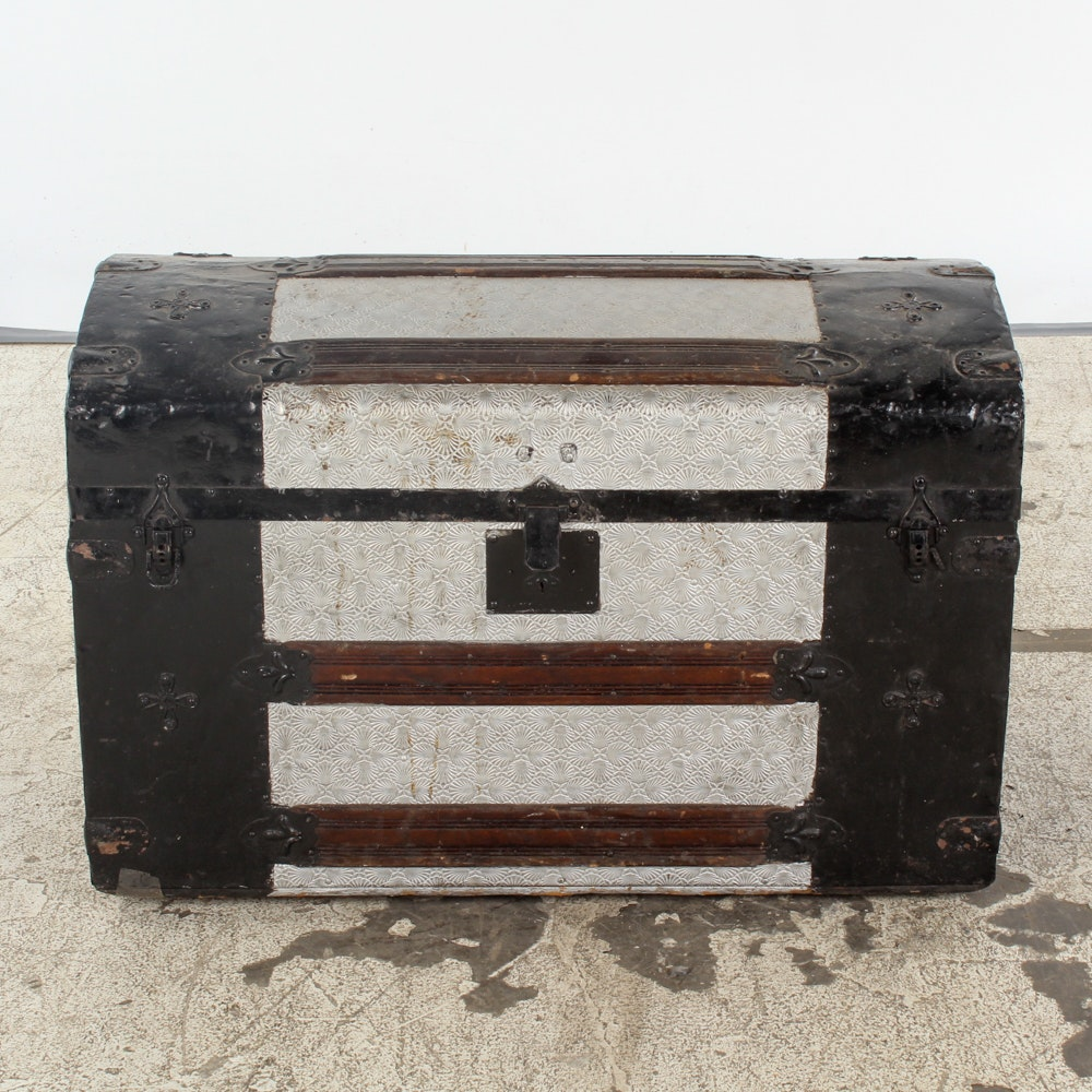 Black and Silver Dome Top Trunk