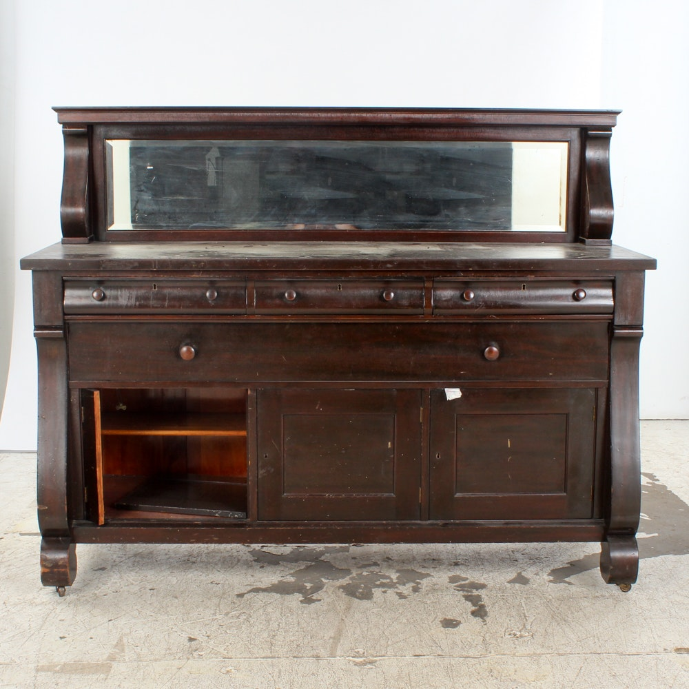 Antique Empire Style Mahogany Sideboard with Mirror Backsplash