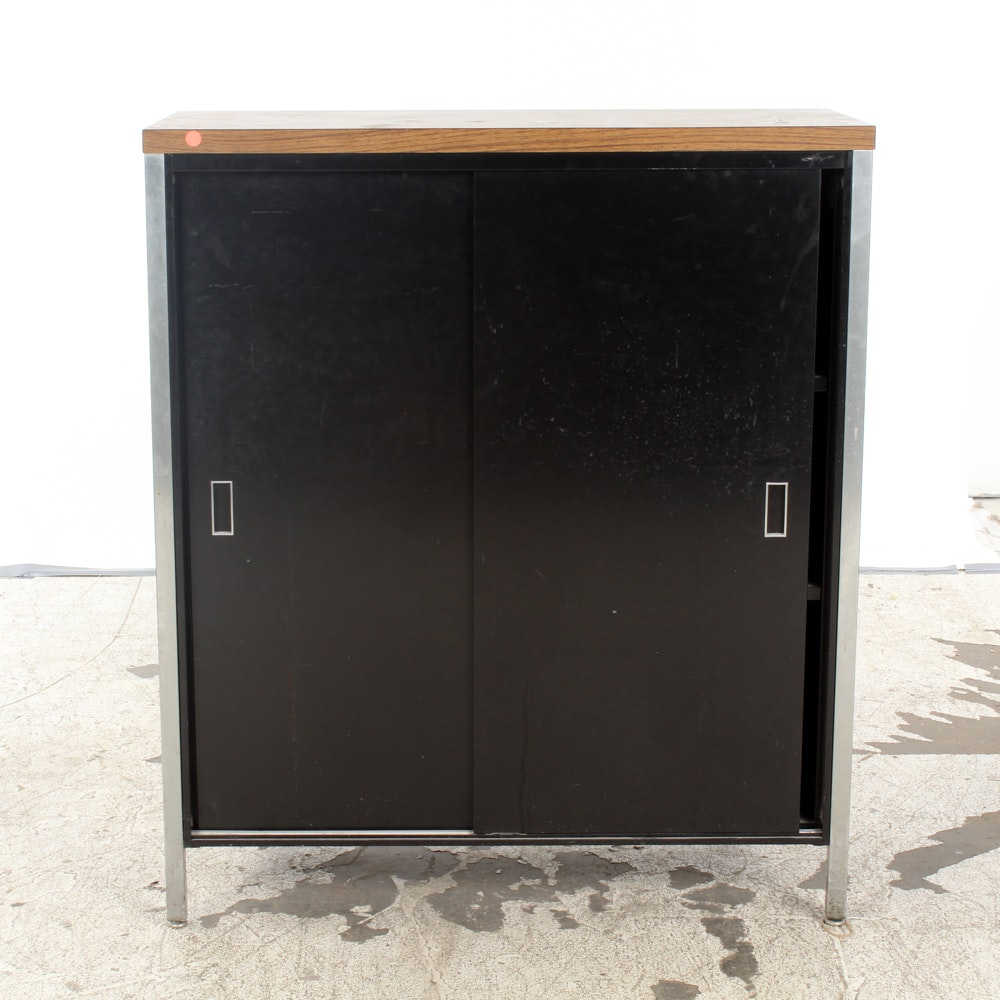 Black Metal Storage Cabinet with Sliding Door