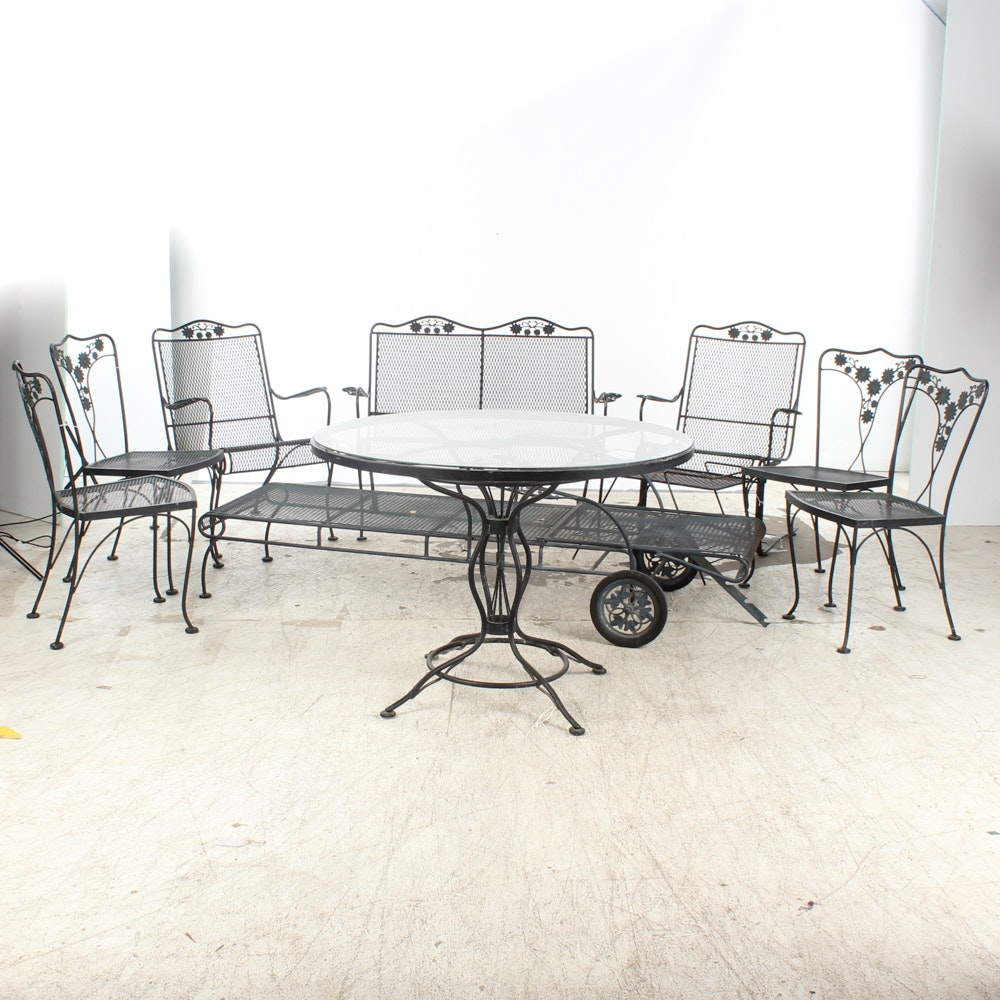 Nine-Piece Wrought Iron Patio Furniture Set