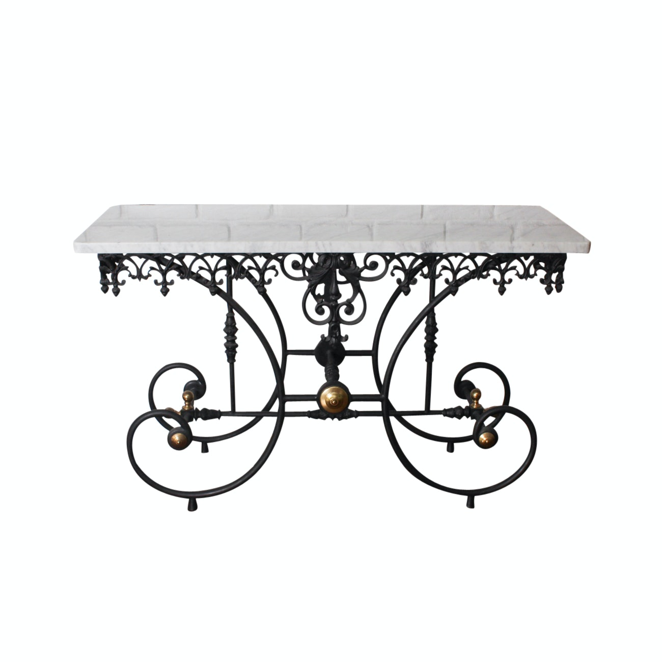 Exceptionnel Marble And Wrought Iron Entry Table ...