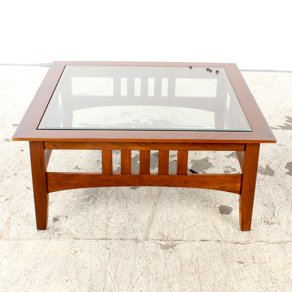 Wood and Glass Mission Style Coffee Table