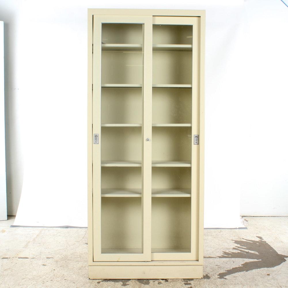 Pale Yellow Metal Display Cabinet