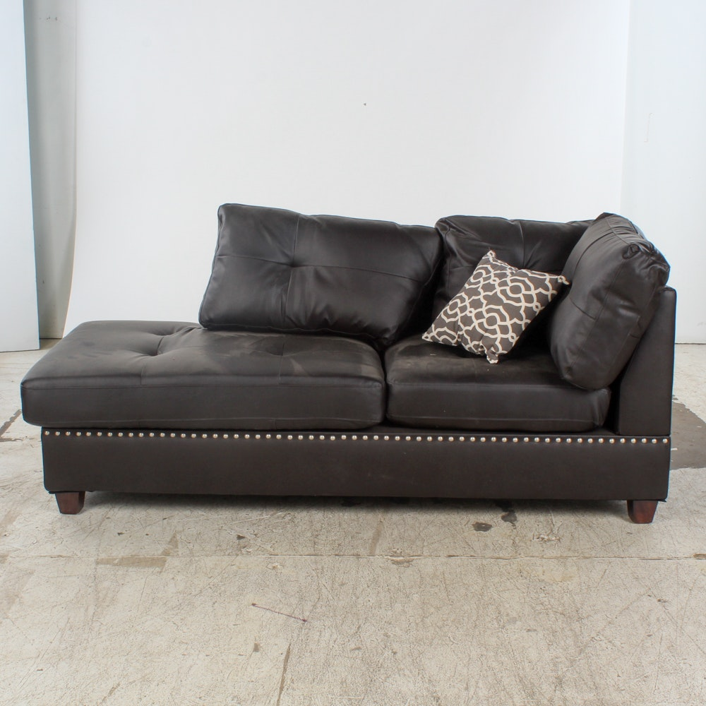 Faux Black Leather Chaise Lounge