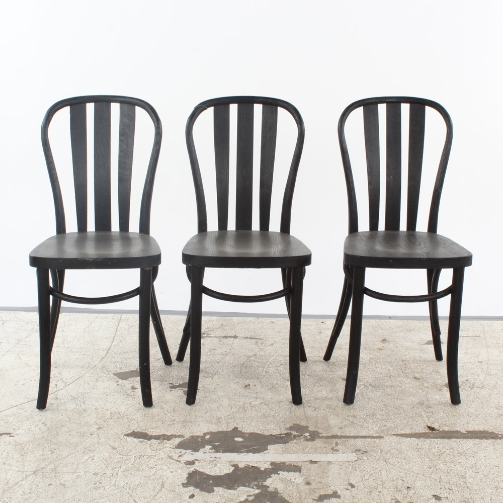 Black Painted Cafe Style Side Chairs
