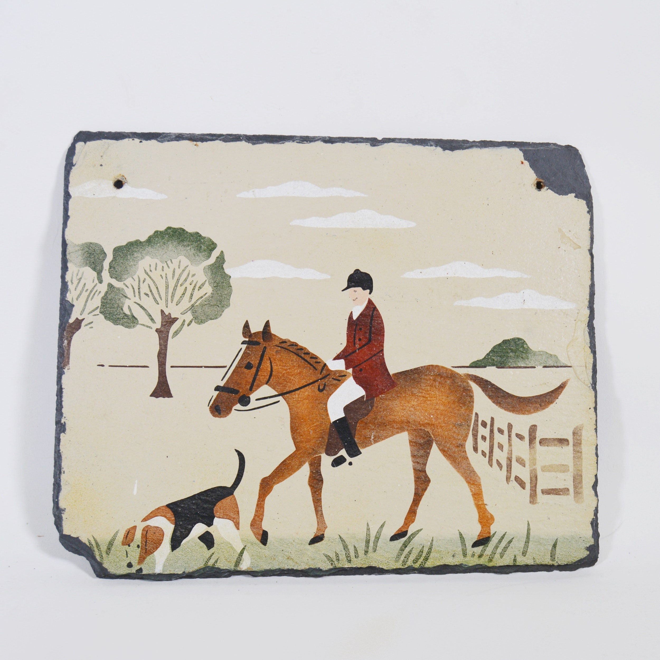 Hand-Painted Hunting Scene Slate Sign