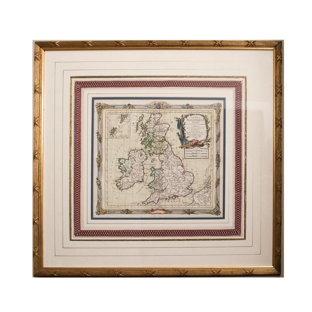 """Framed Map """"Les Isles Britanniques"""" Circa 1766"""