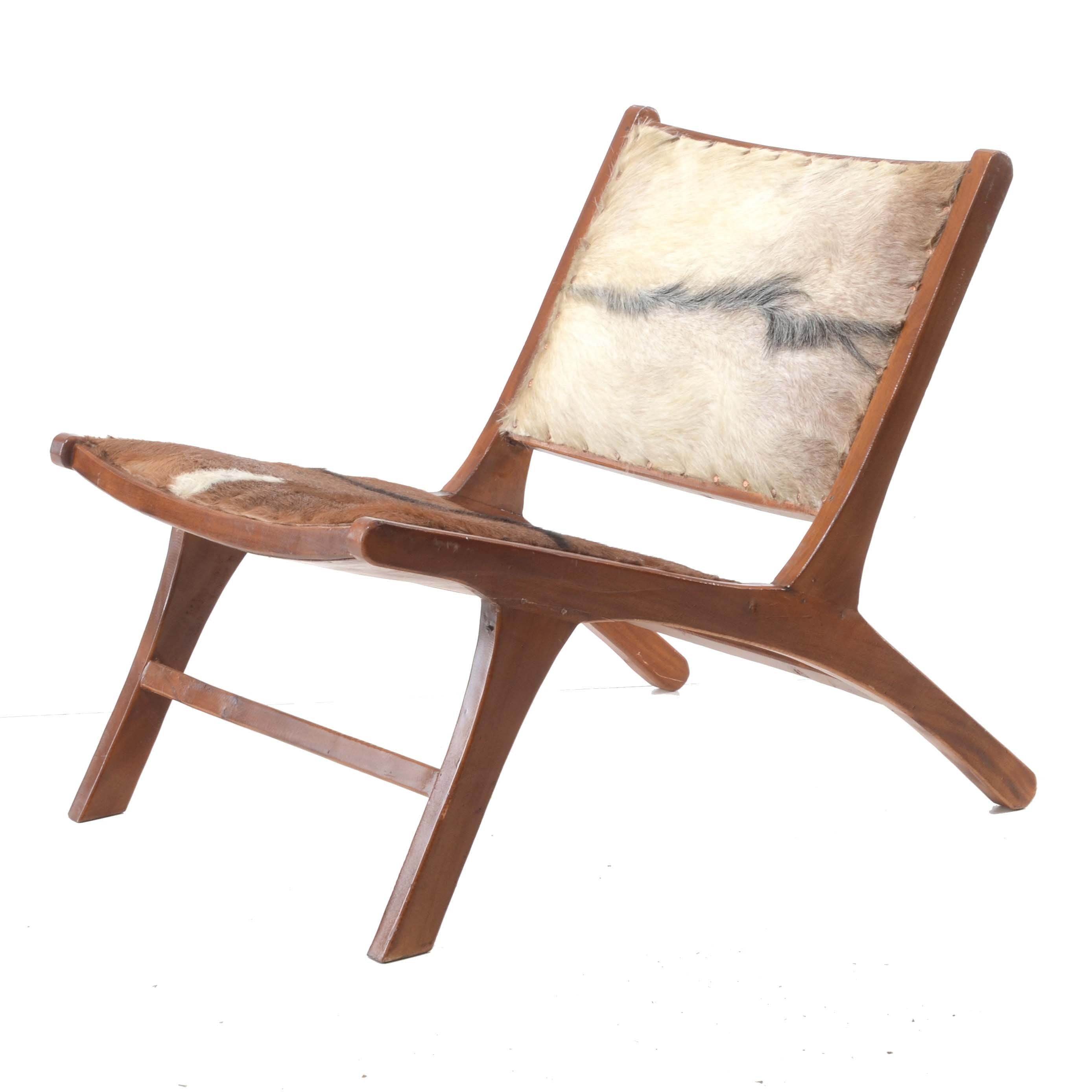 Vintage Cow Hide Upholstered Lounge Chair