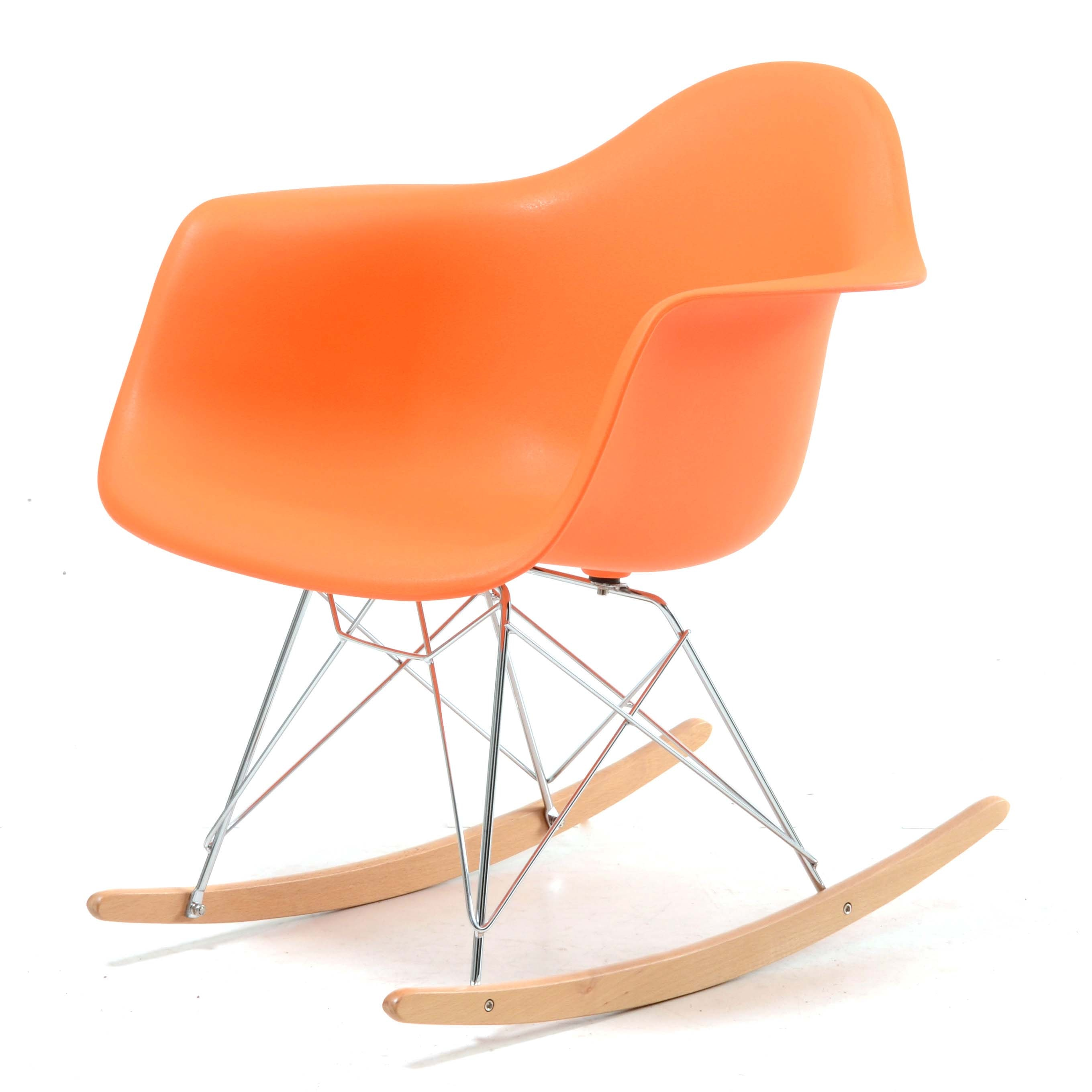 Eames Style Molded Plastic Rocking Chair