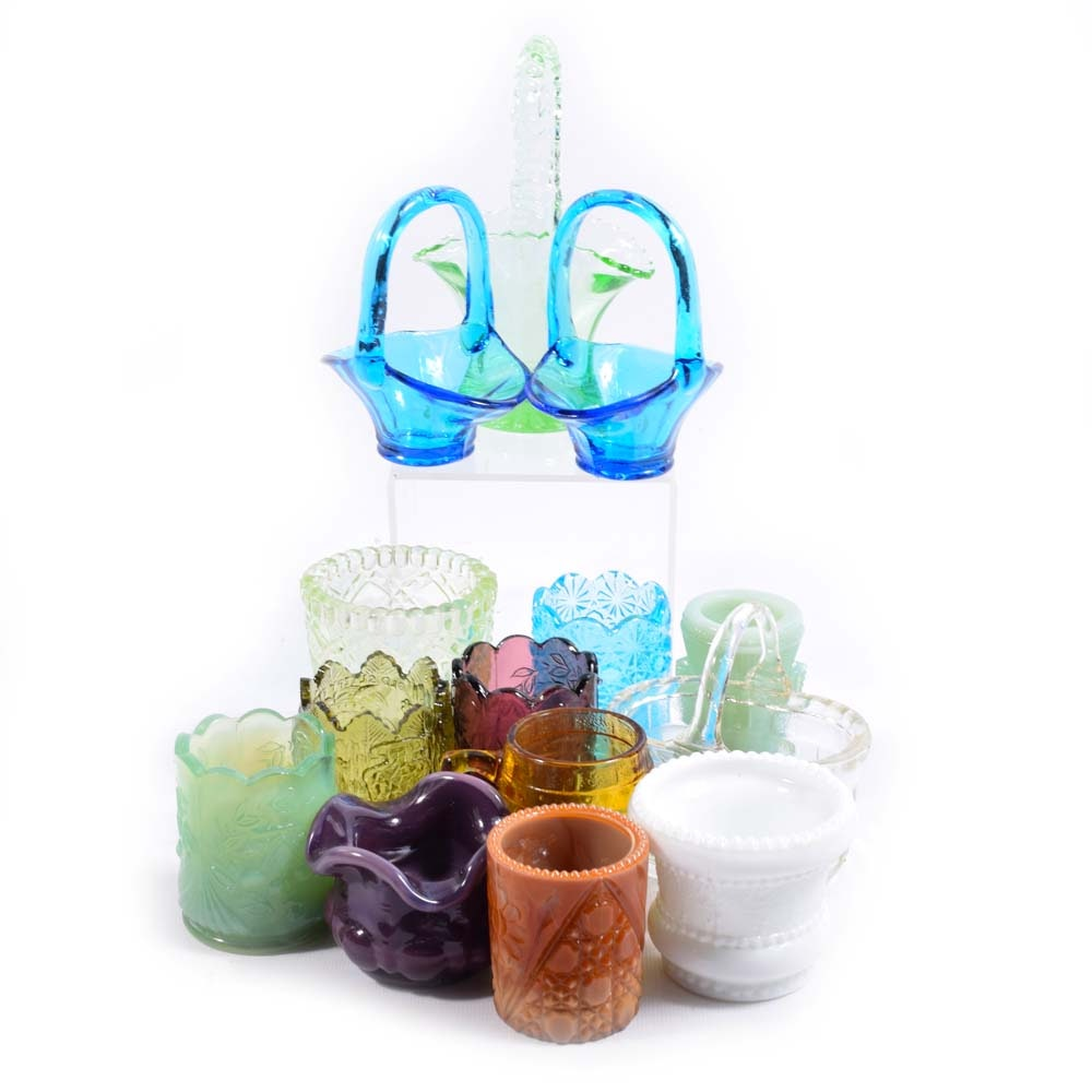 Collection of Vintage Glass Toothpick Holders and Baskets