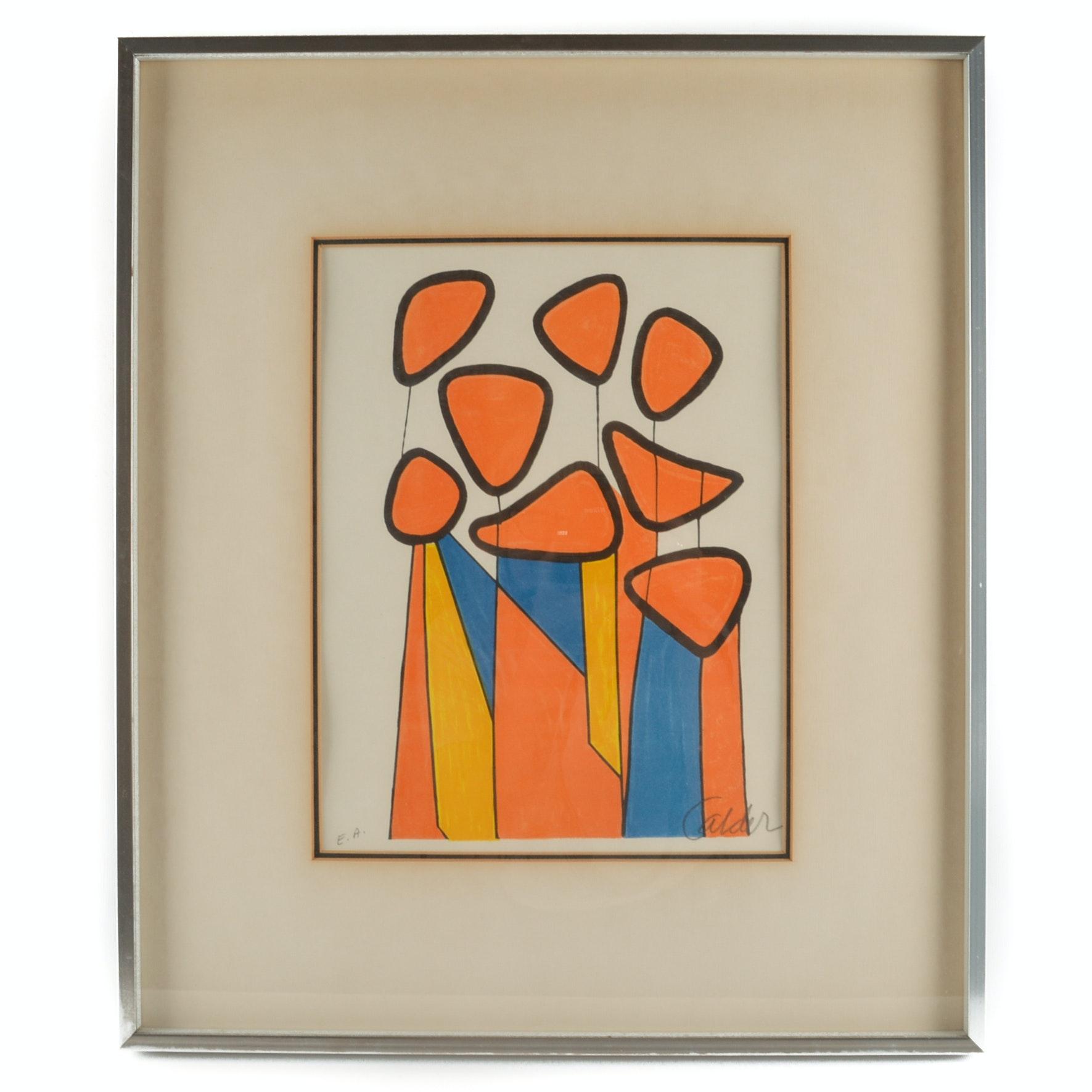 "Alexander Calder Artist's Proof Lithograph ""Squash Blossoms"""