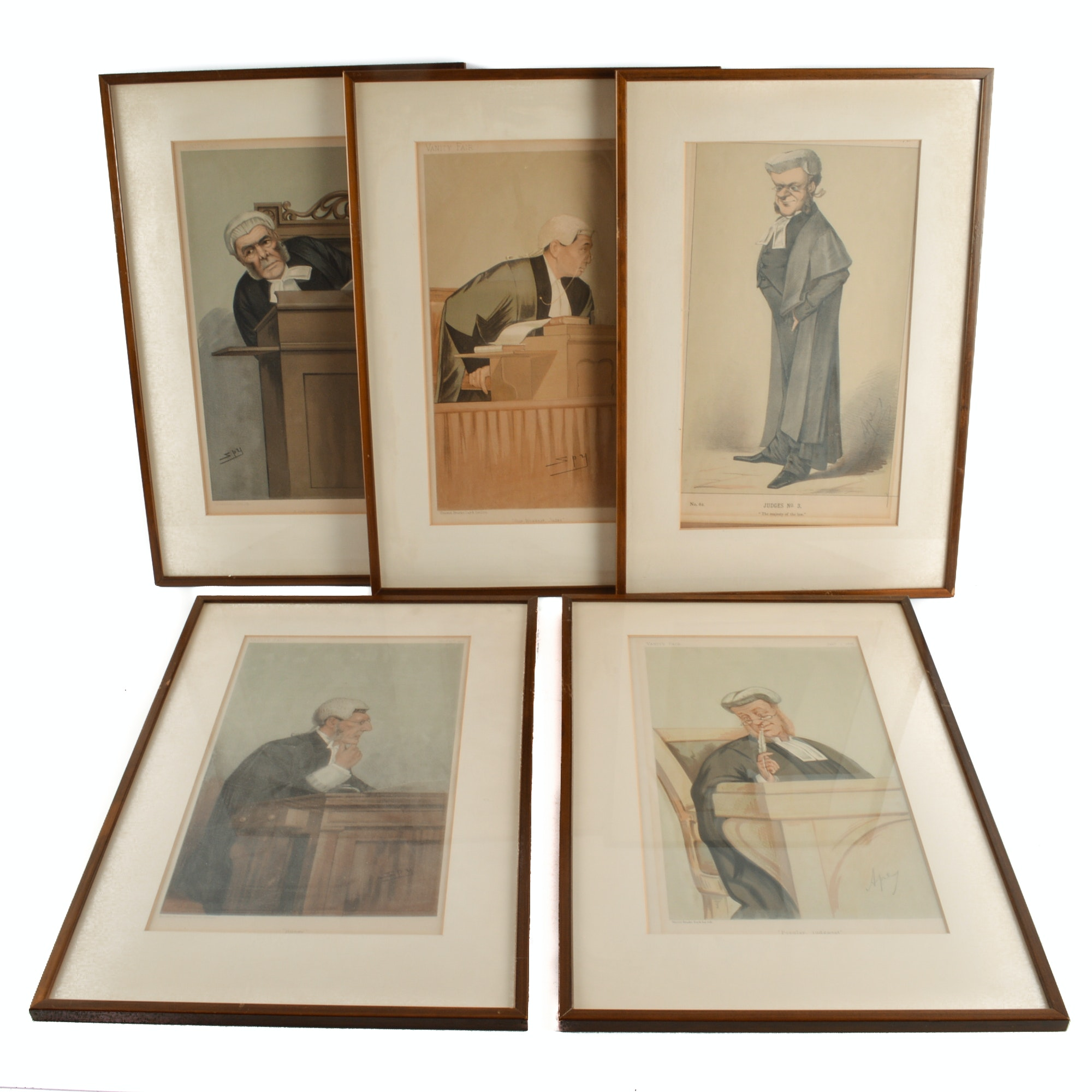 "Five ""Vanity Fair"" Chromolithographs Depicting Judges"