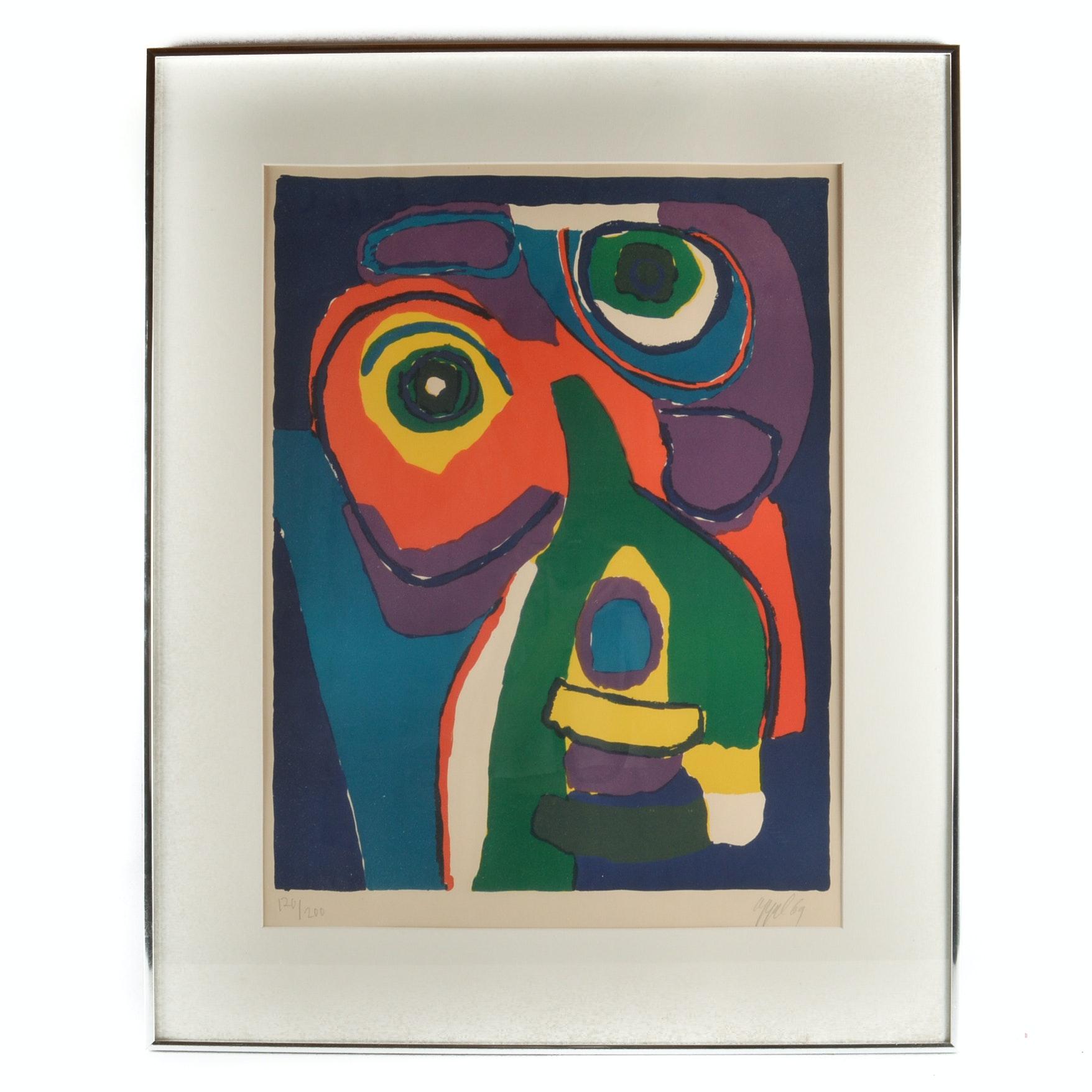 """Karel Appel Framed Limited Edition Signed Lithograph """"Visage Colore"""""""