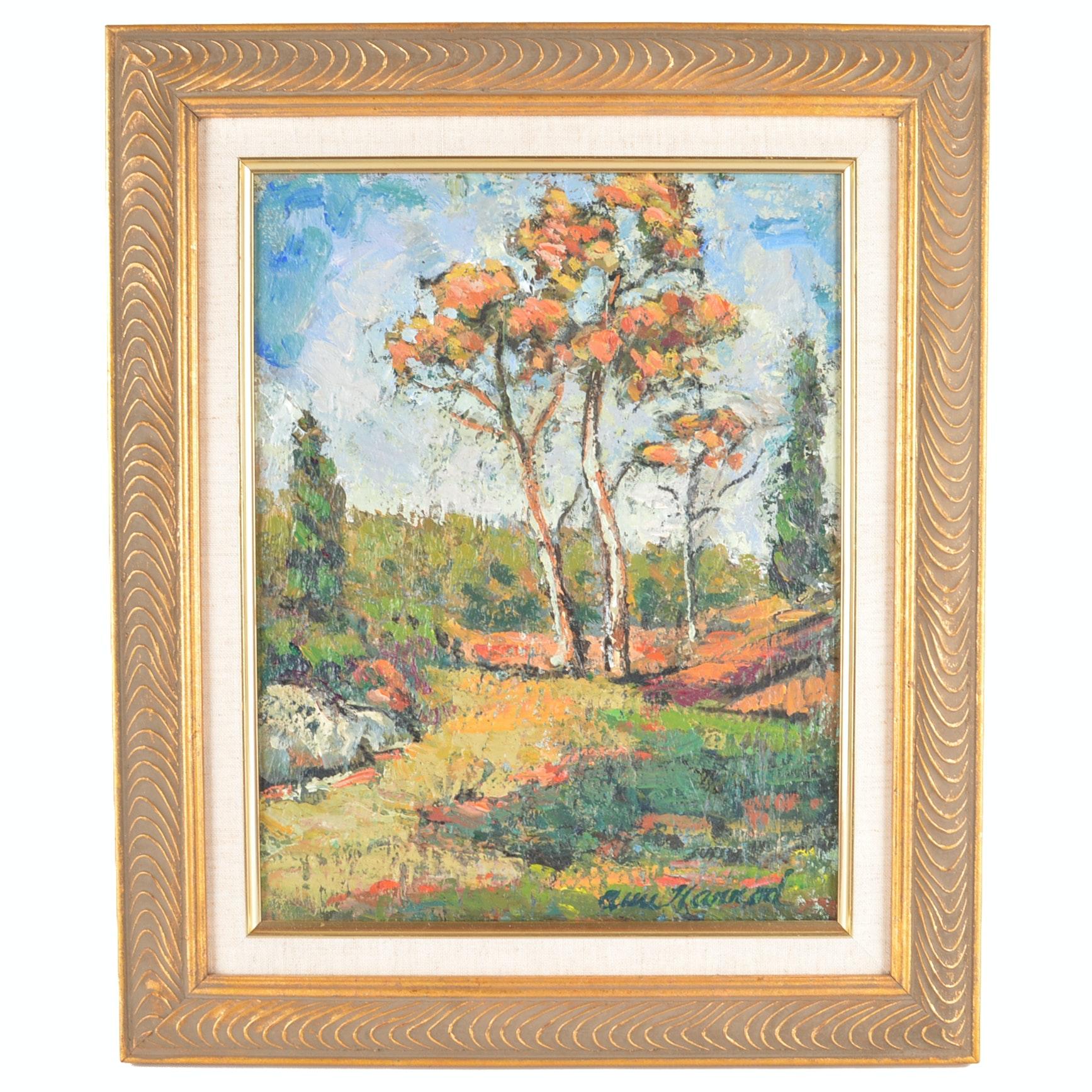 """Ann Harrod Acrylic on Canvas Painting """"The Sentinels"""""""