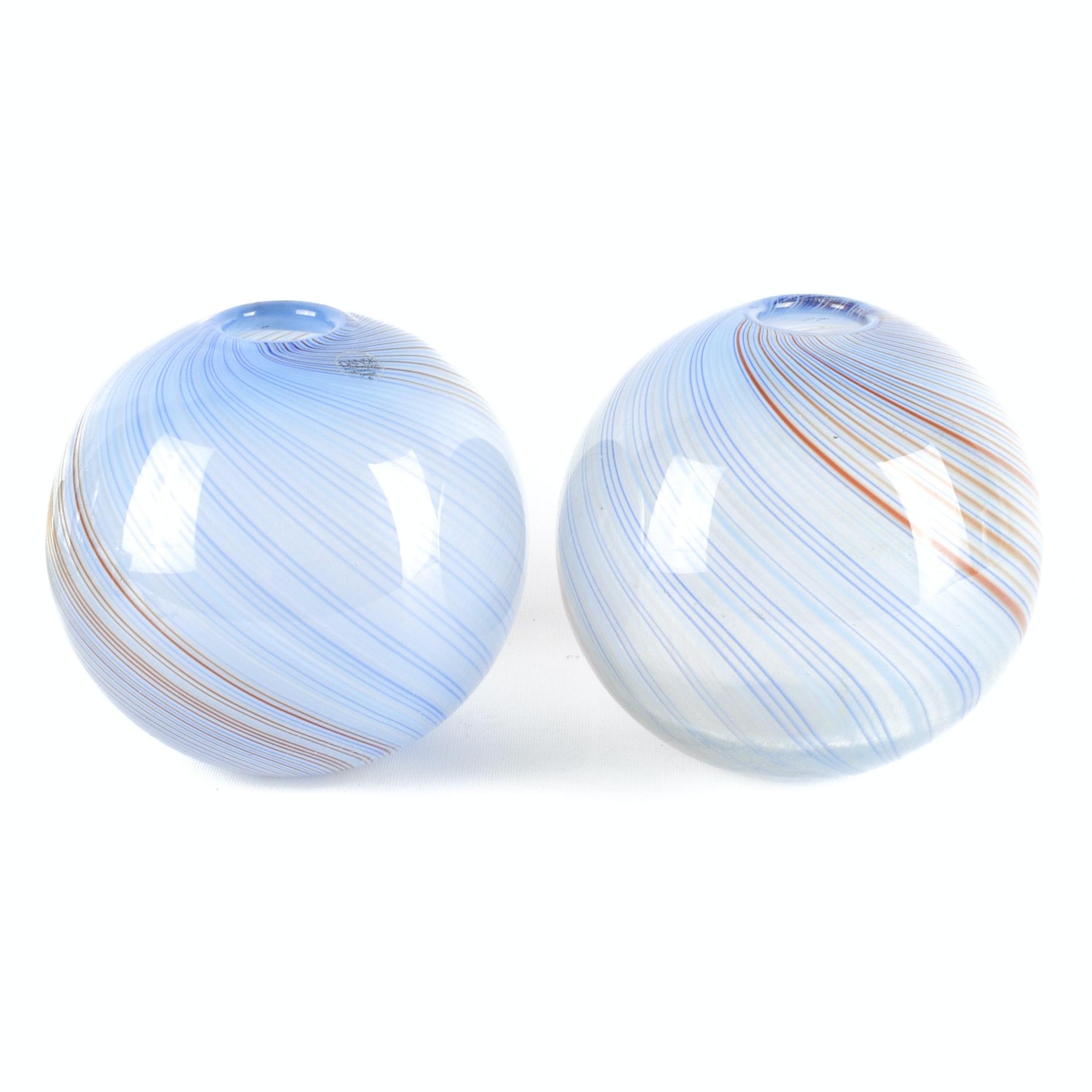 Pair of Dansk Swirl Art Glass Vases