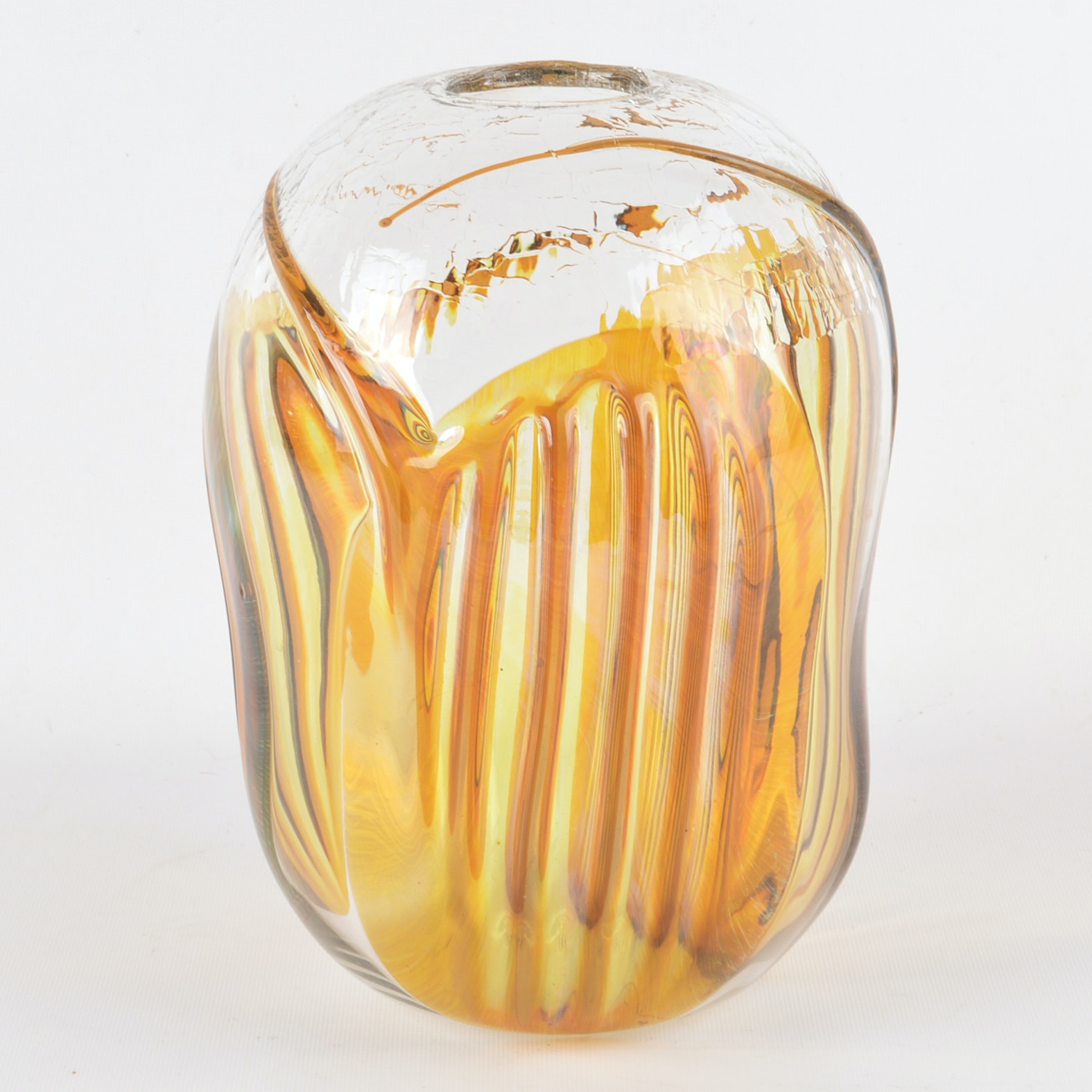 Peter Bramhall 1982 Art Glass Vase