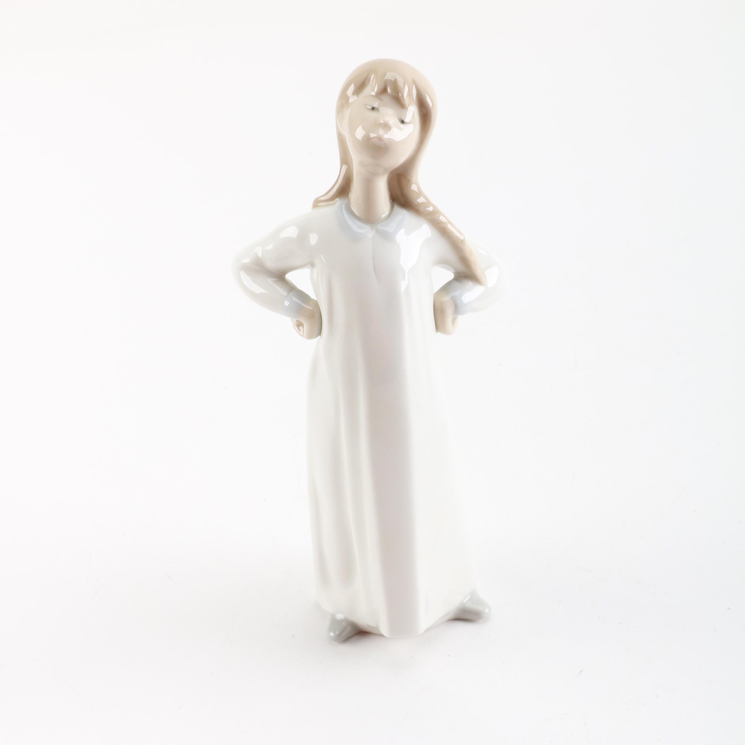 Lladró Porcelain Figurine of Girl with Hands Akimbo