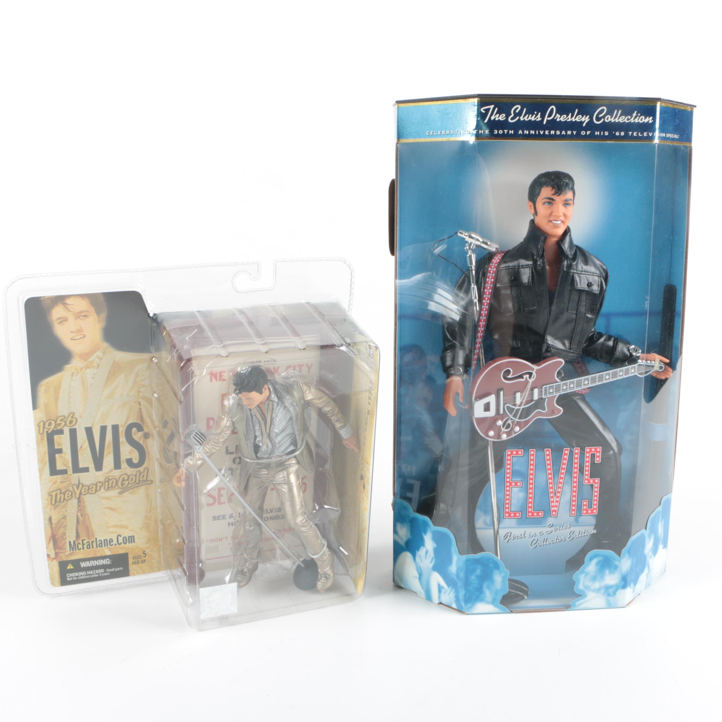 "1998 Mattel ""Elvis Presley Collection"" Doll and McFarlane Action Figure"