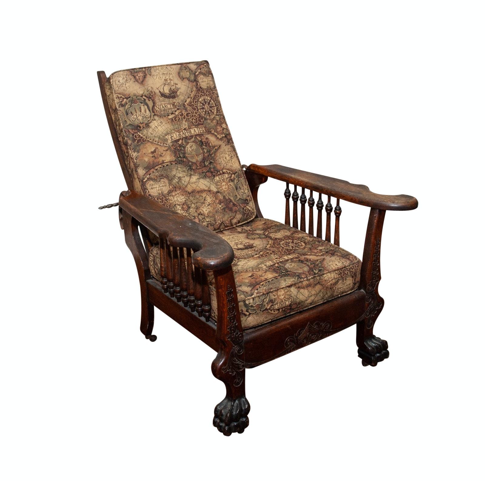 Vintage Wooden Recliner Armchair