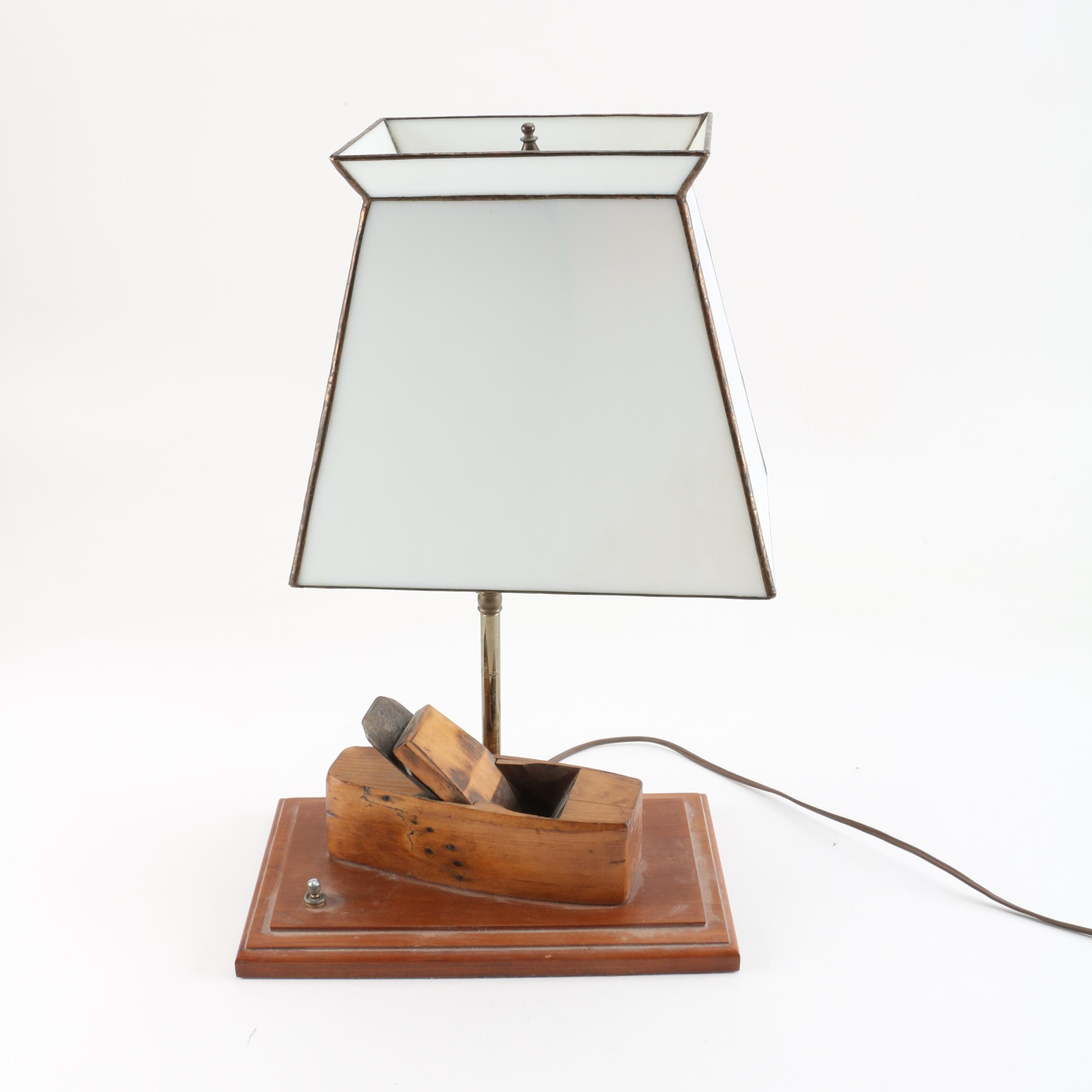 Vintage Wood Plane Table Lamp With Glass Shade
