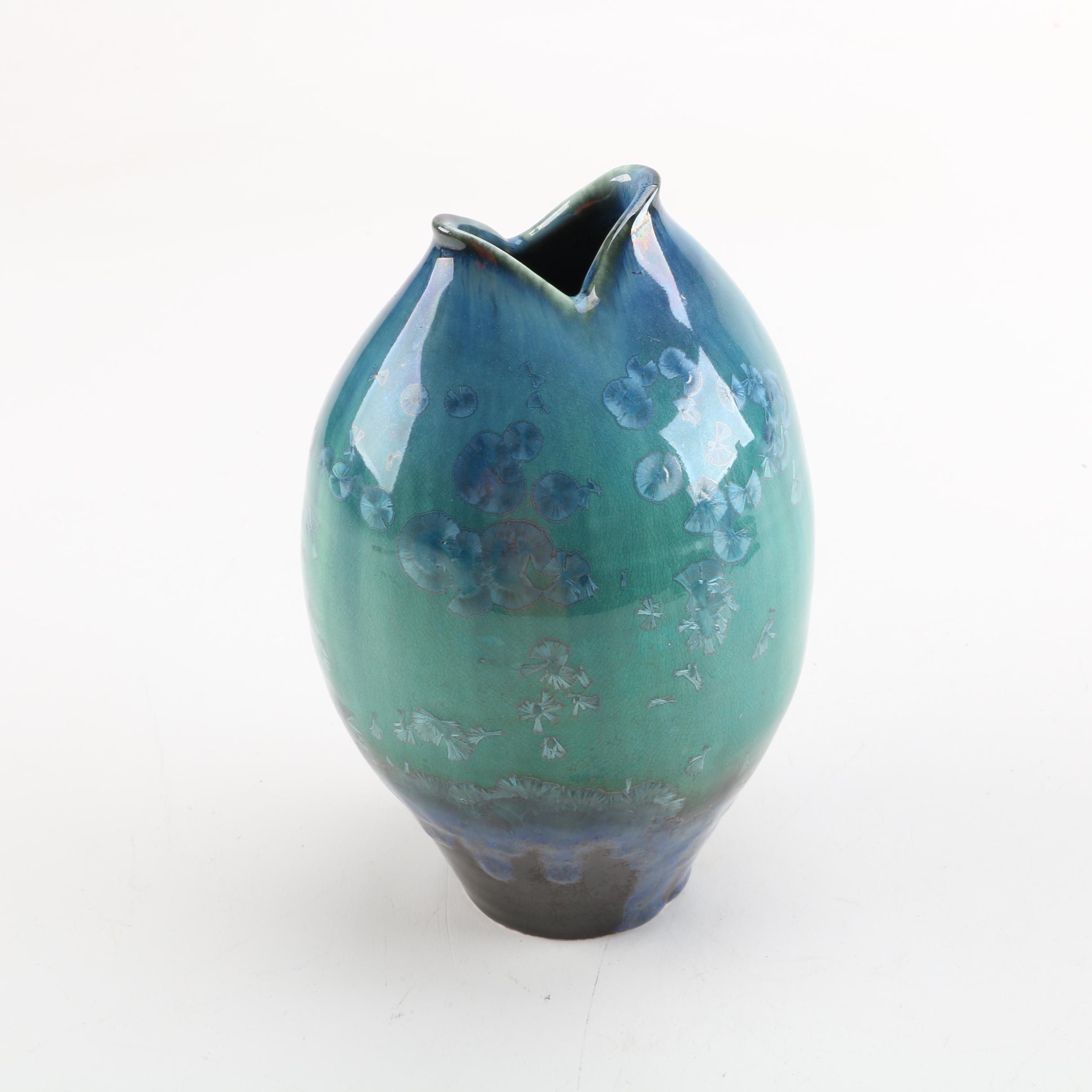 """Bill Campbell Handmade Crystalline """"Fish"""" Vase"""