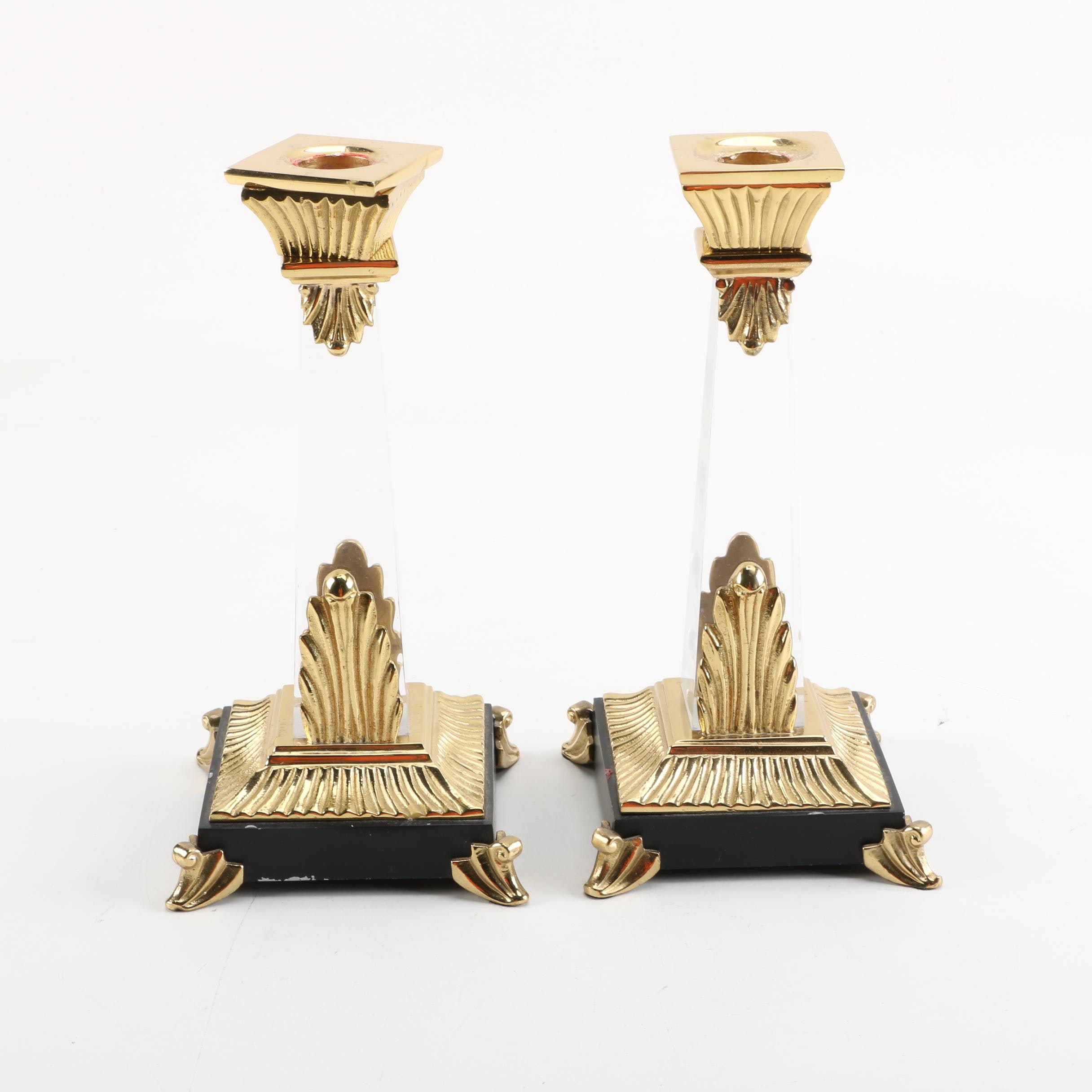 Brass Tone and Lucite Candlesticks