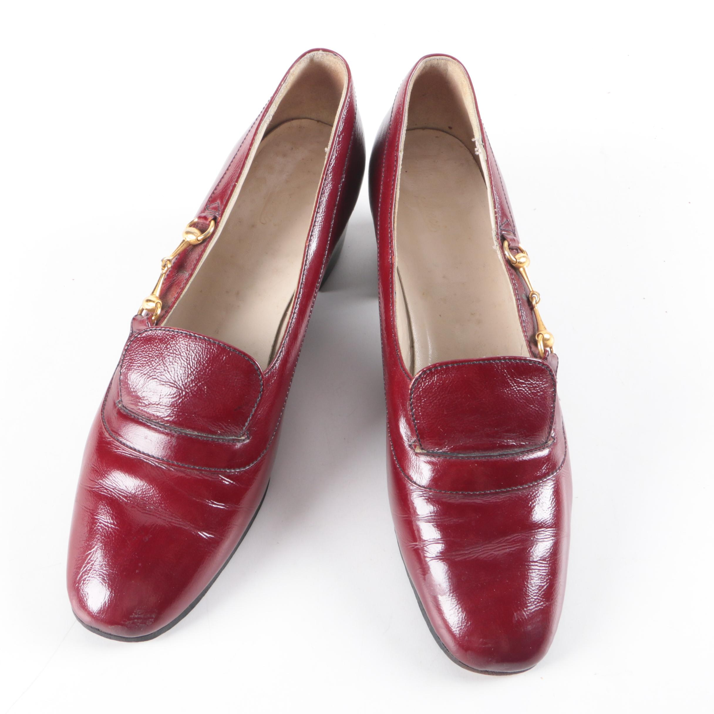 Women's Circa 1960 Vintage Gucci Burgundy Leather Horsebit High-Heeled Loafers