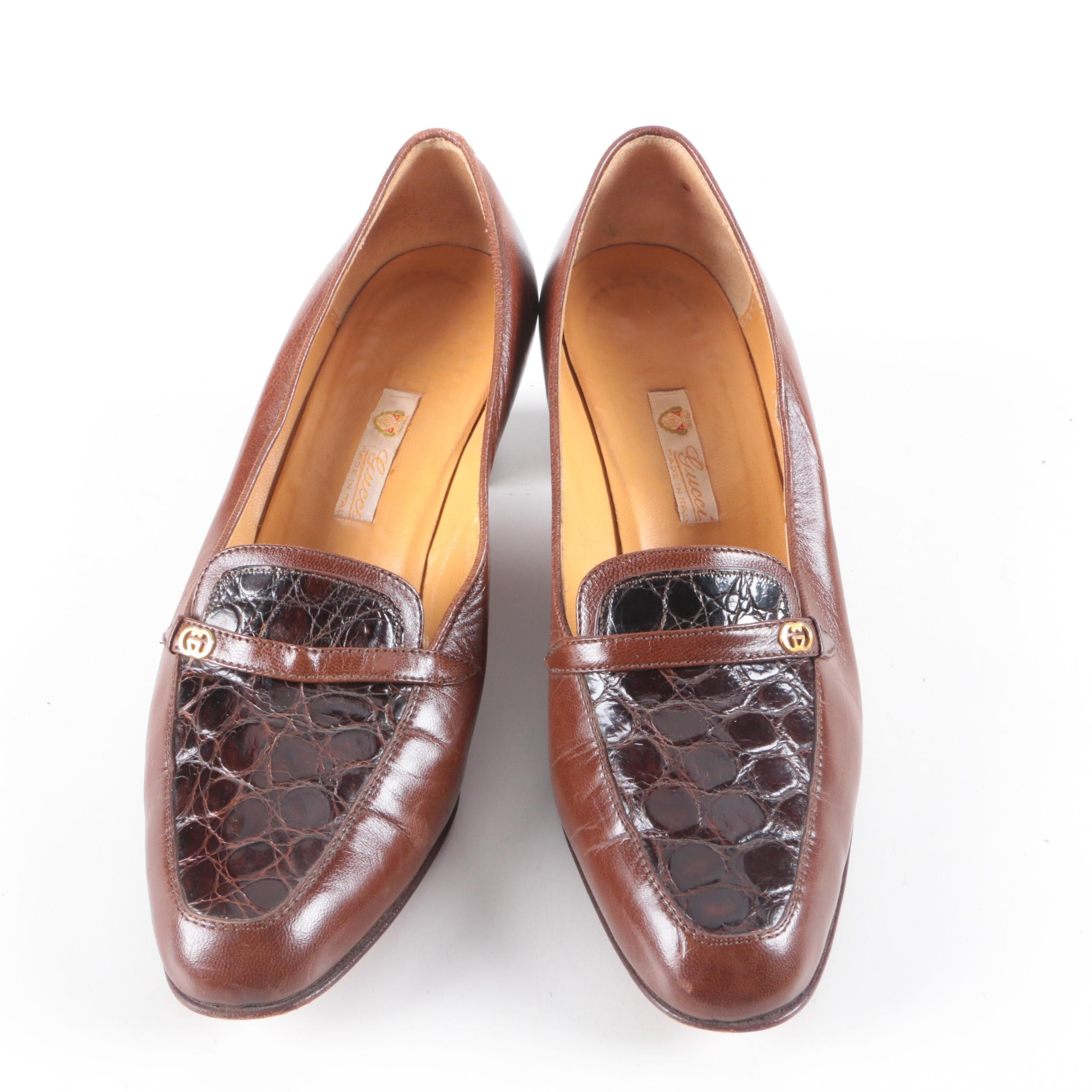 Circa 1960 Vintage Gucci Brown Leather and Alligator Skin High-Heeled Loafers