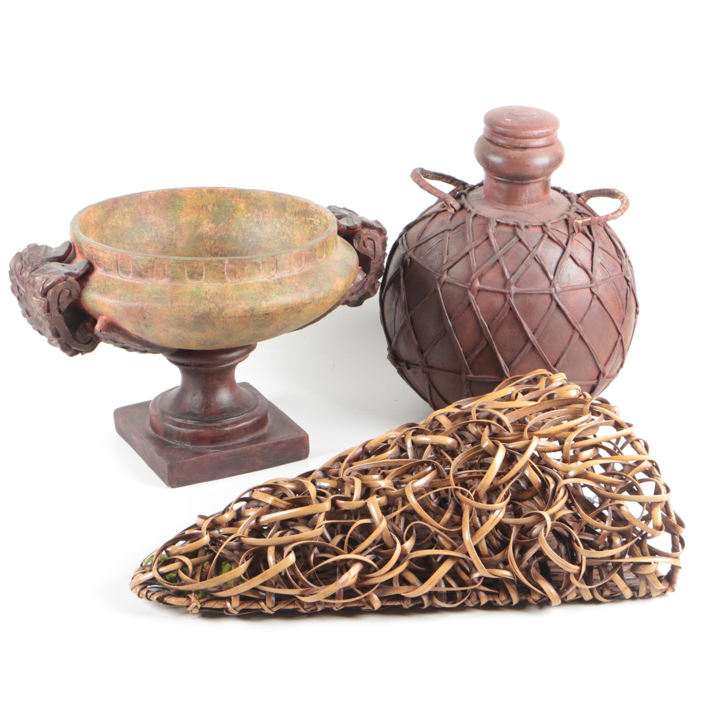 Pedestal Centerpiece Bowl, Wall Pocket Vase and Lidded Vessel