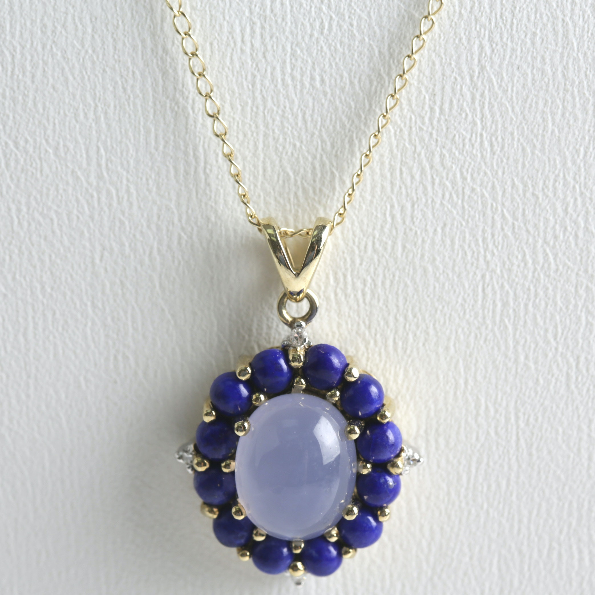 14K Yellow Gold Moonstone, Lapis Lazuli, and Diamond Necklace