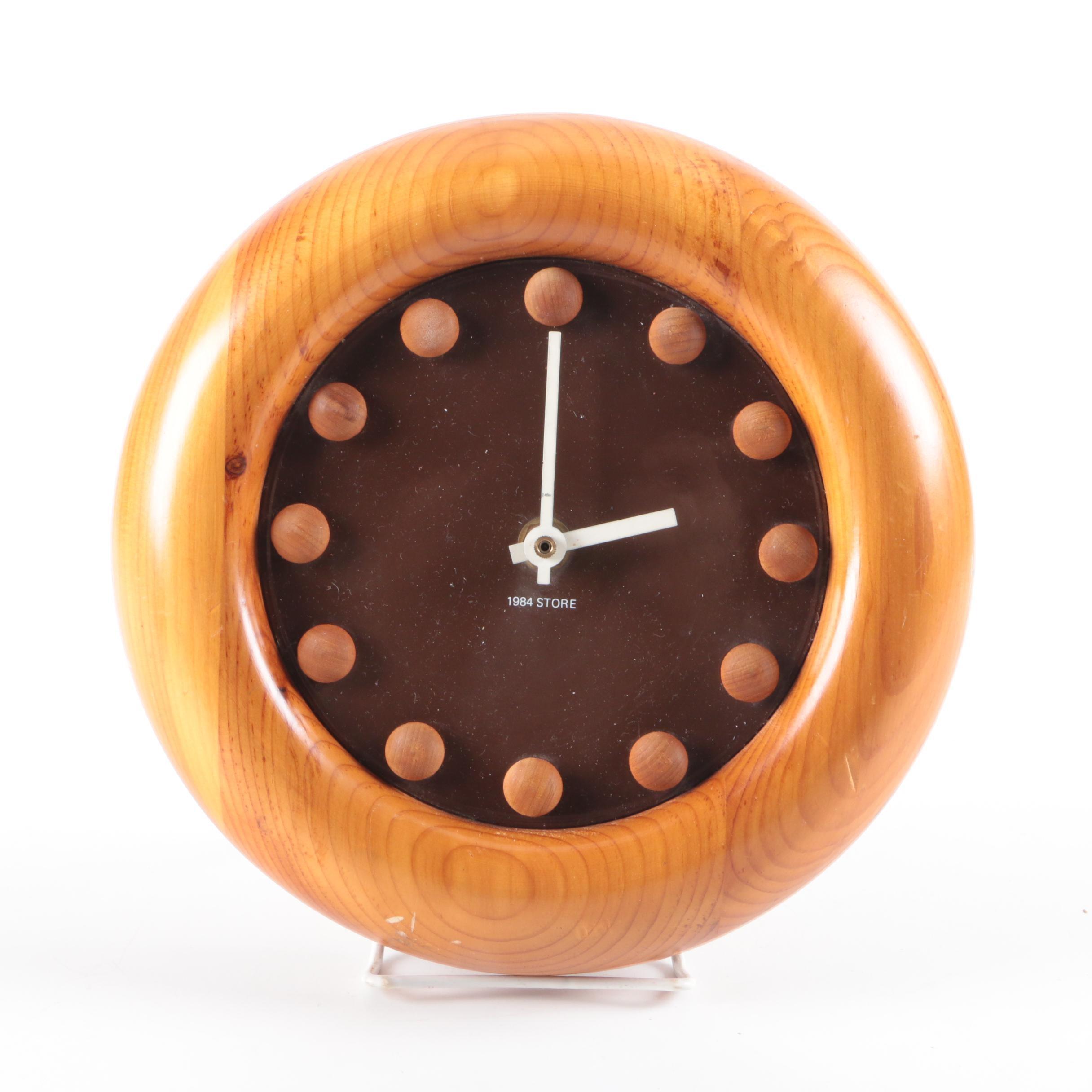 Mid Century Modern 1984 Store Round Wood Wall Clock