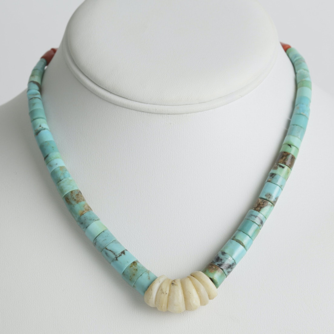 Vintage 900 Silver Howlite, Coral, and Mother of Pearl Necklace
