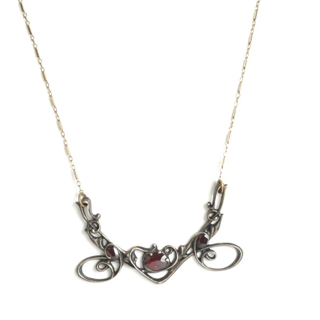 Sterling Silver Openwork Garnet Pendant with 10K Yellow Gold Chain