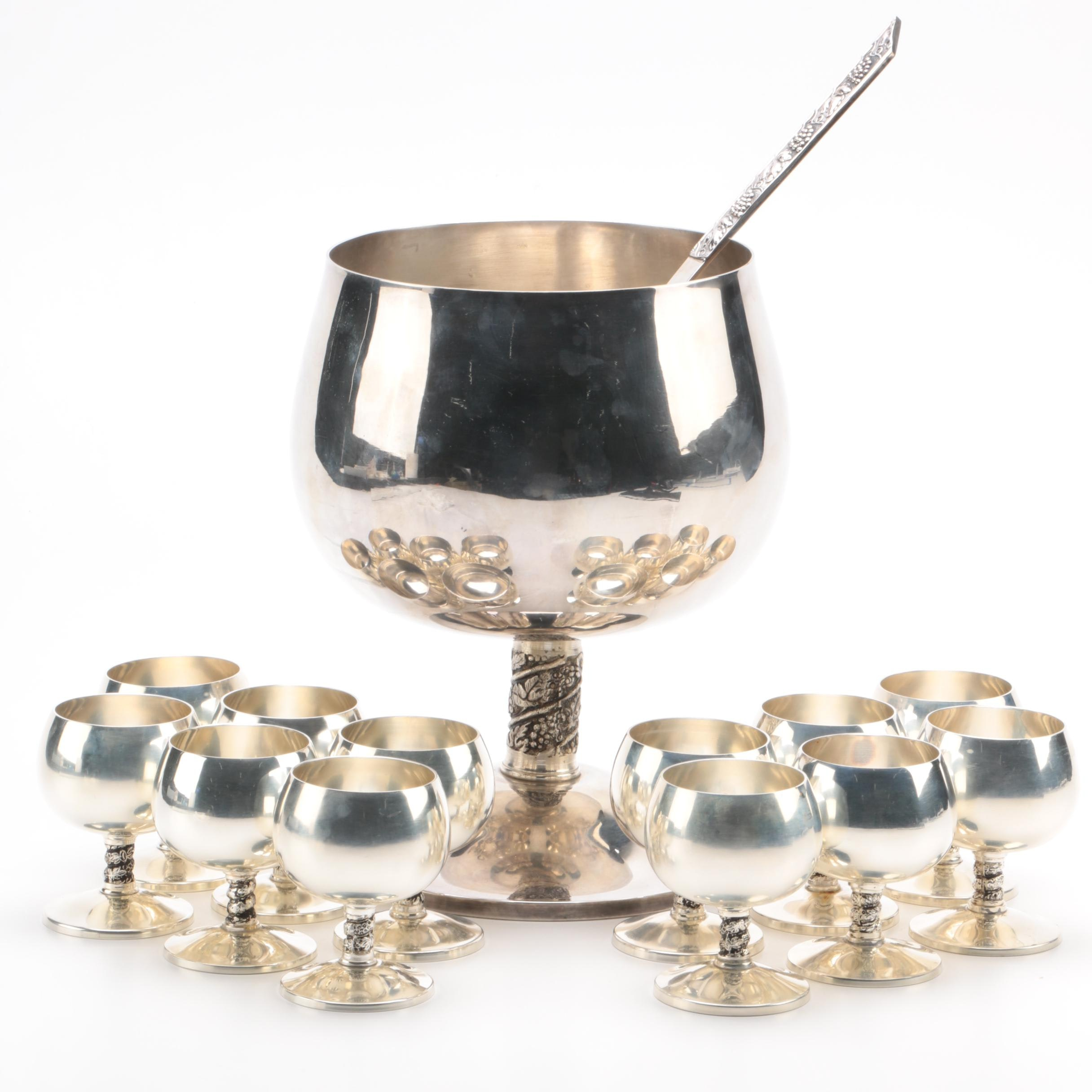 Spanish Silver Plate Punch Bowl, Ladle, and Snifters