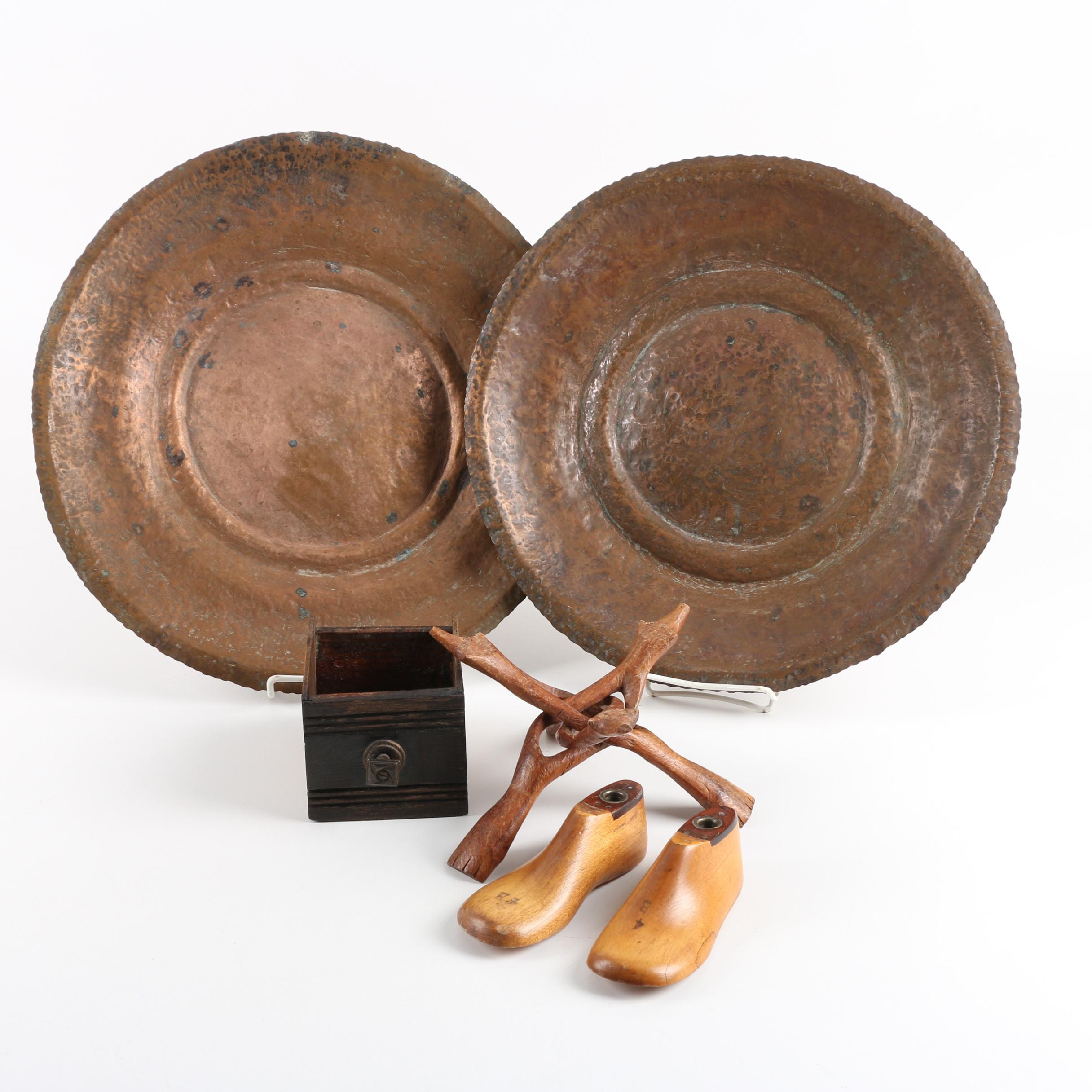 Vintage Hammered Copper Chargers with Wooden Decor